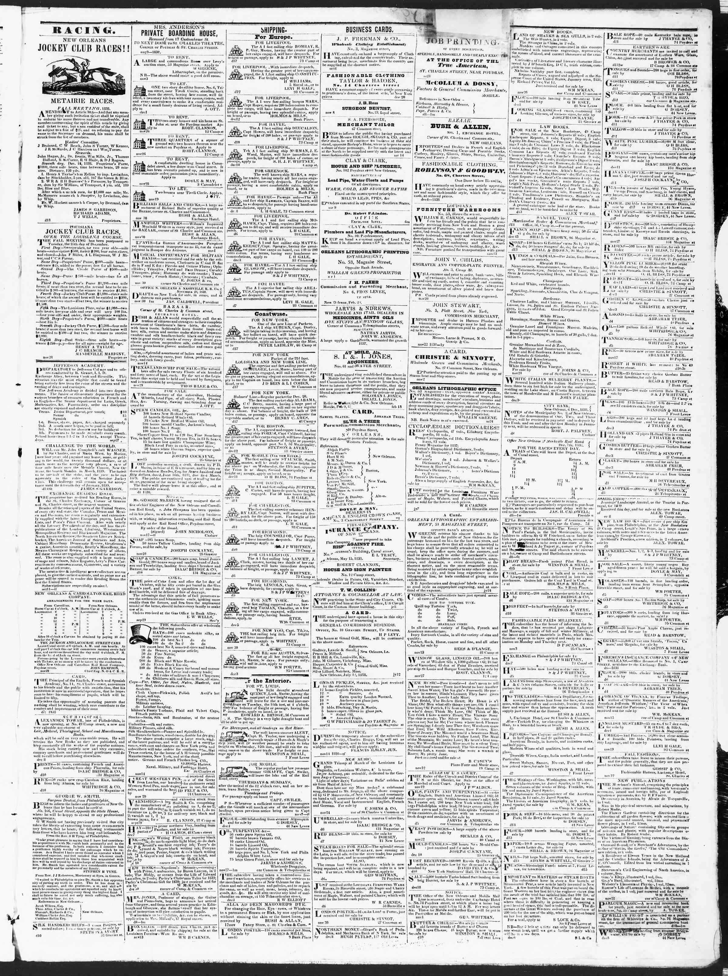 December 18, 1838 Tarihli True American Gazetesi Sayfa 3