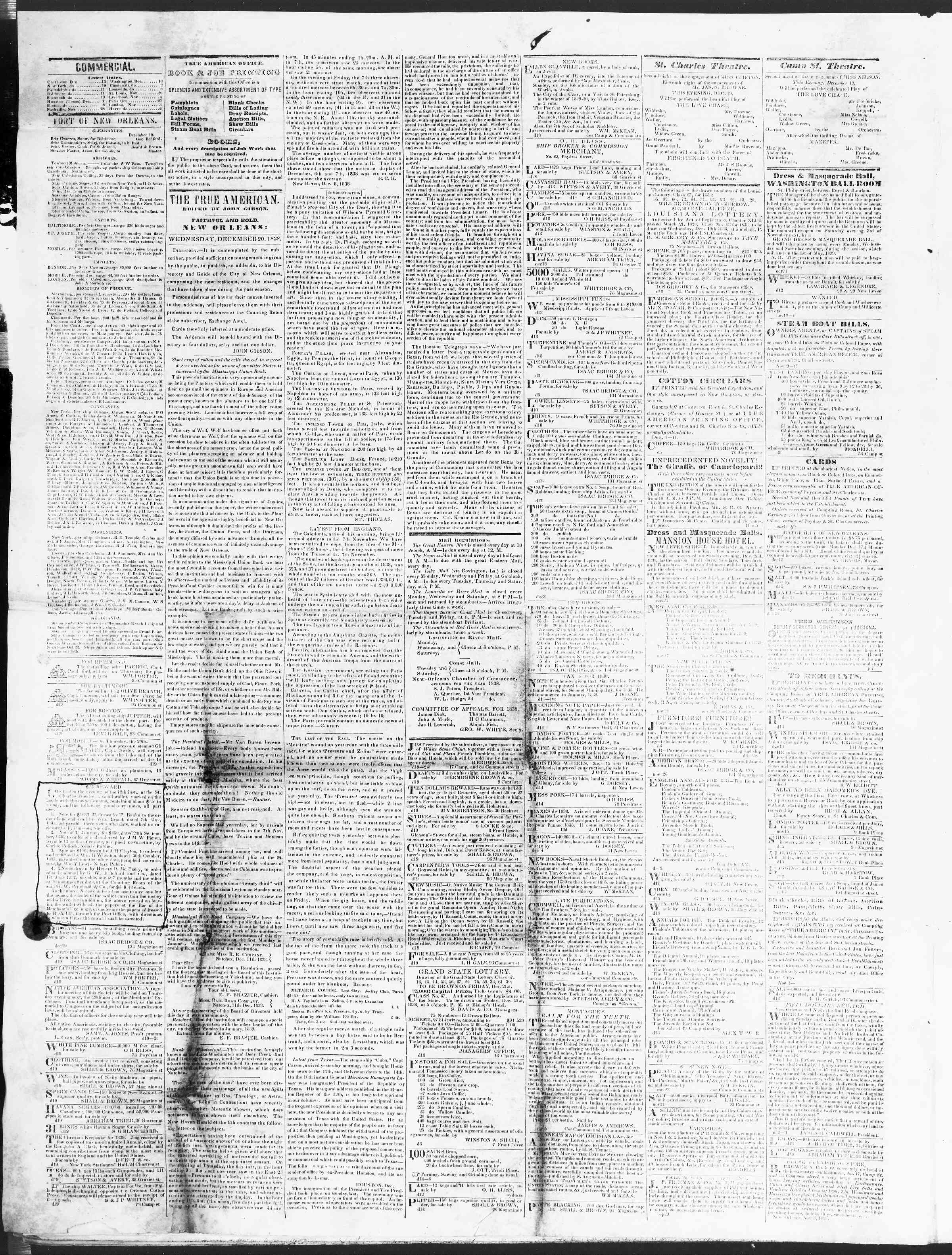 December 19, 1838 Tarihli True American Gazetesi Sayfa 2