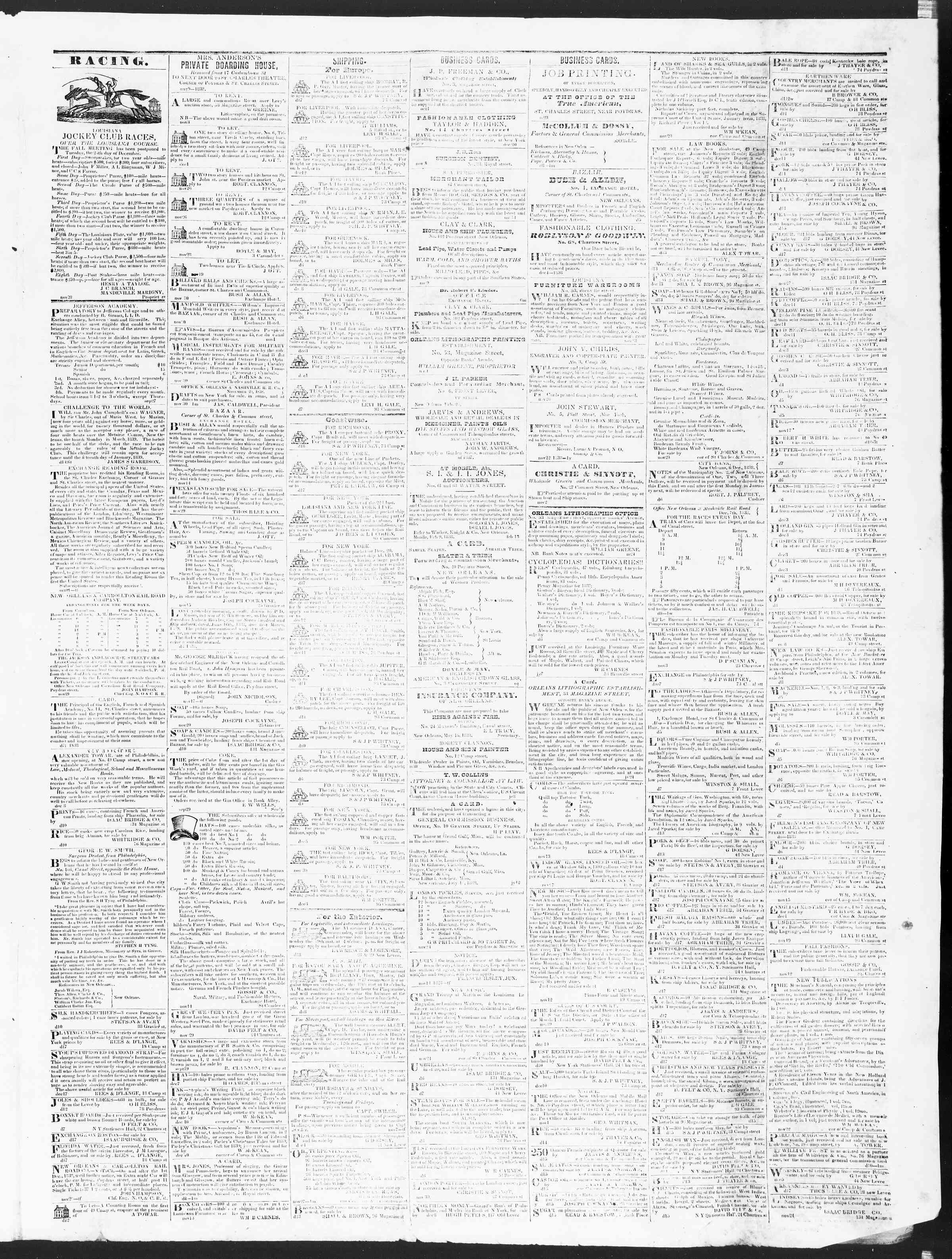 December 19, 1838 Tarihli True American Gazetesi Sayfa 3
