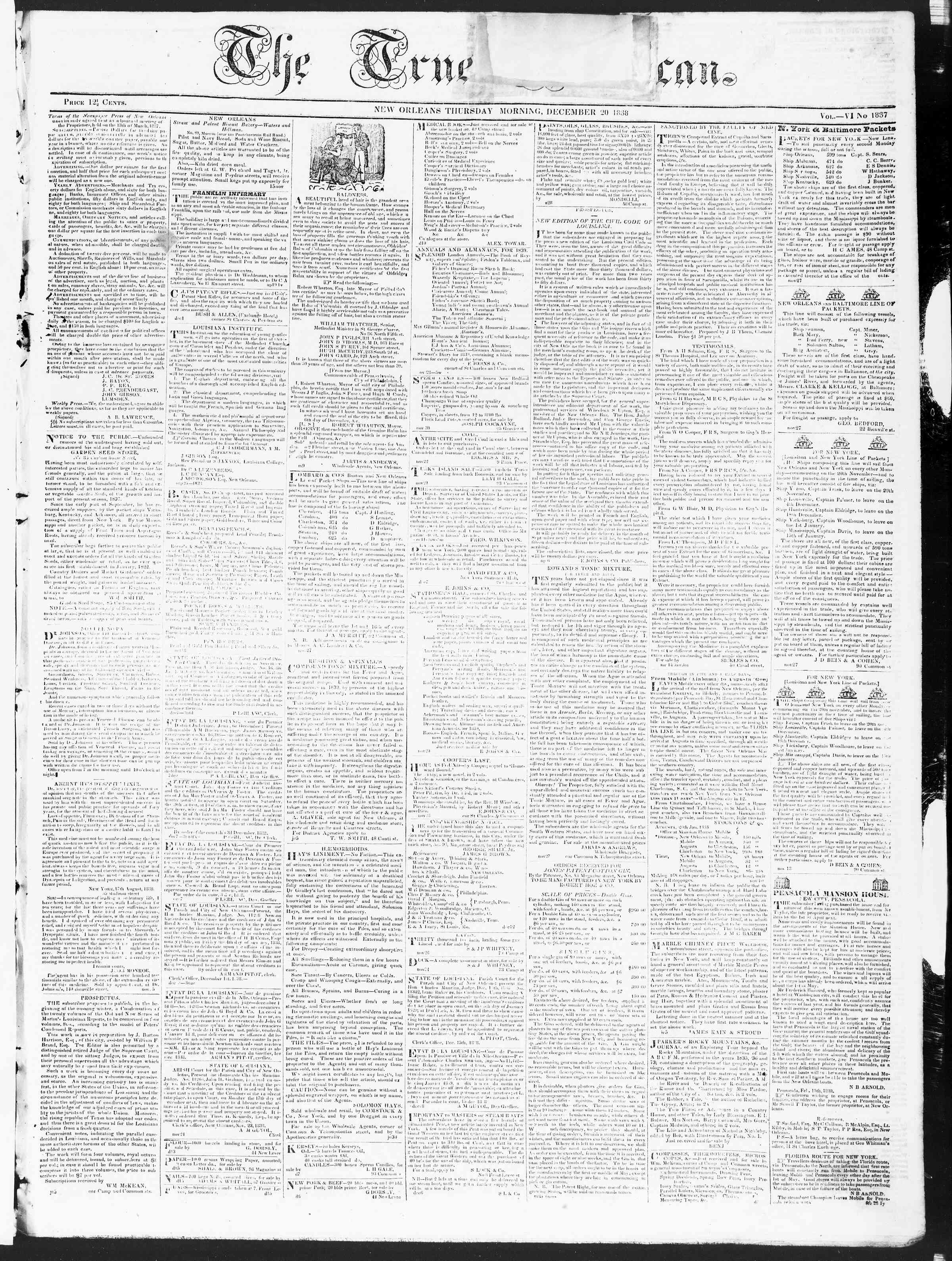 Newspaper of True American dated December 20, 1838 Page 1