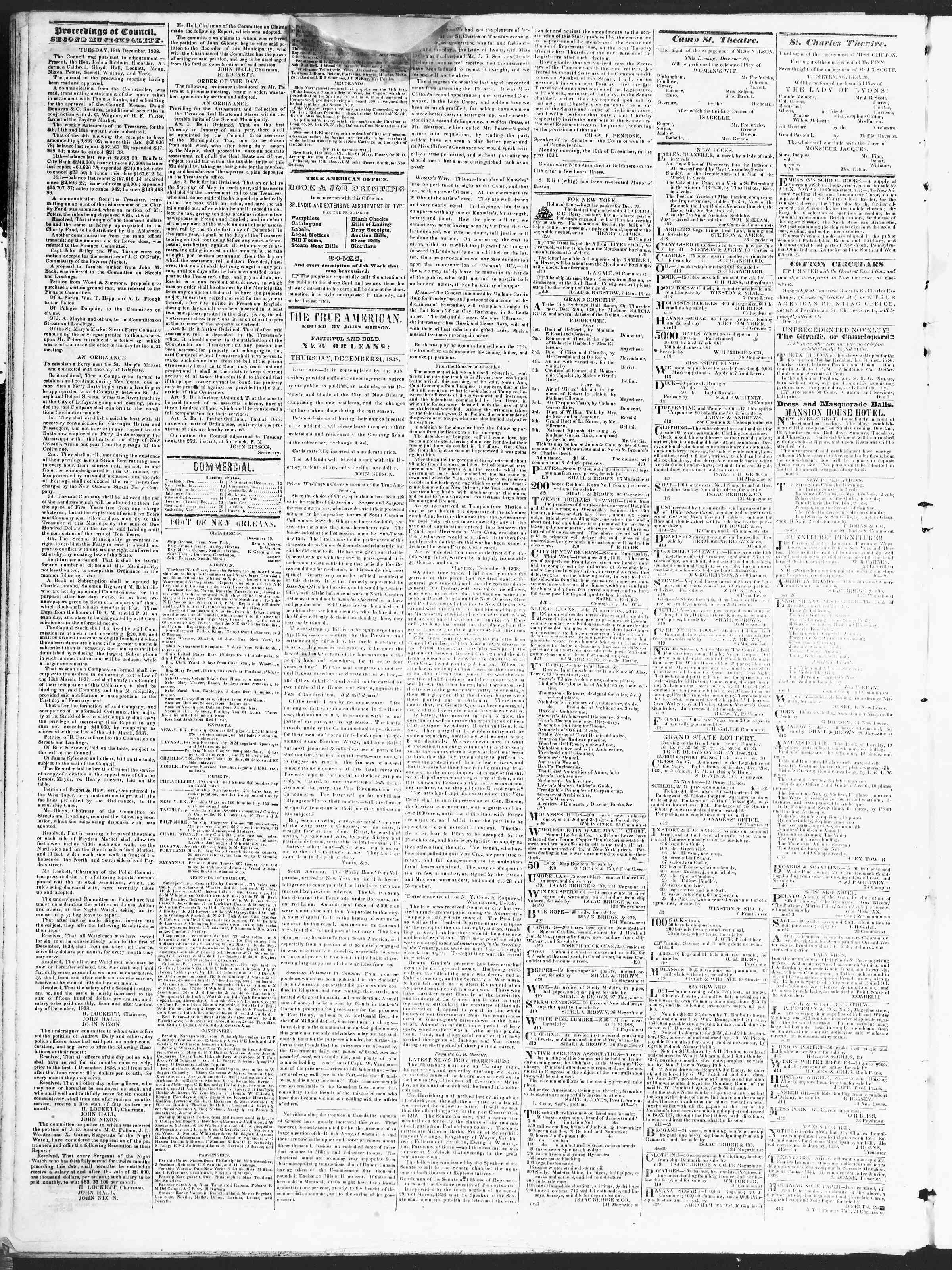 December 20, 1838 Tarihli True American Gazetesi Sayfa 2