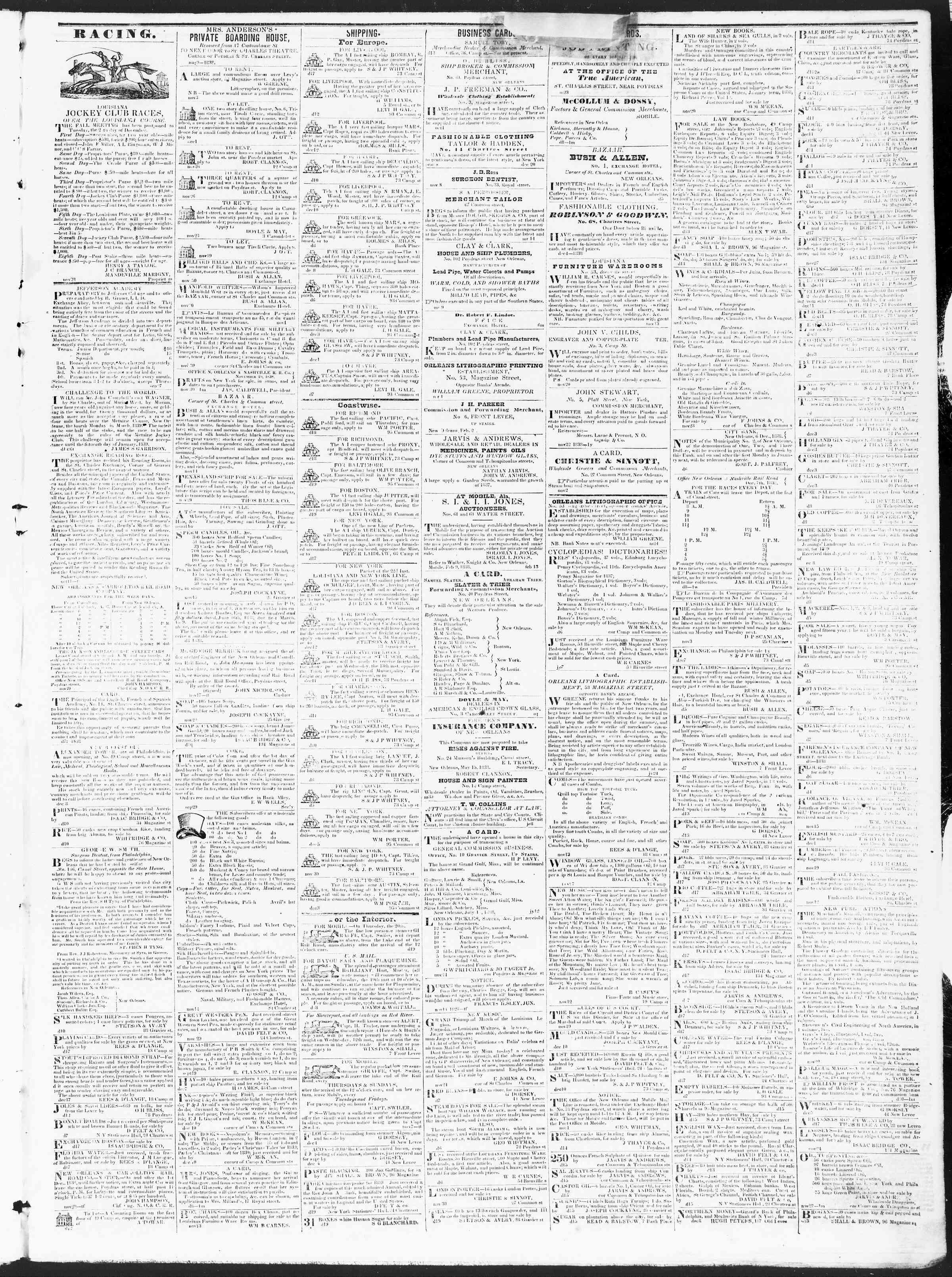 December 20, 1838 Tarihli True American Gazetesi Sayfa 3
