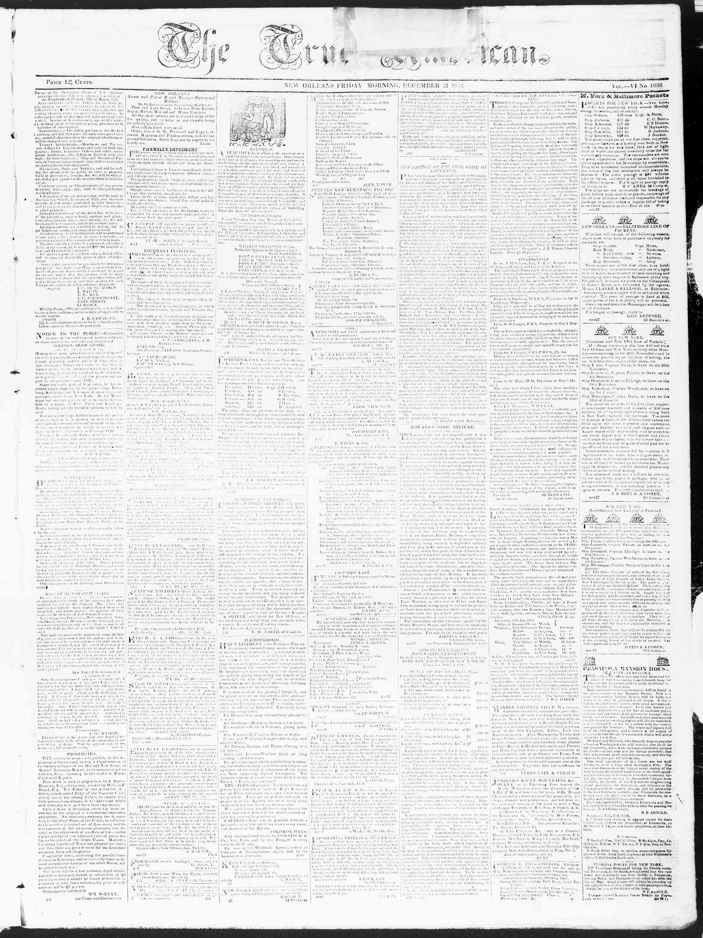 December 21, 1838 Tarihli True American Gazetesi Sayfa 1