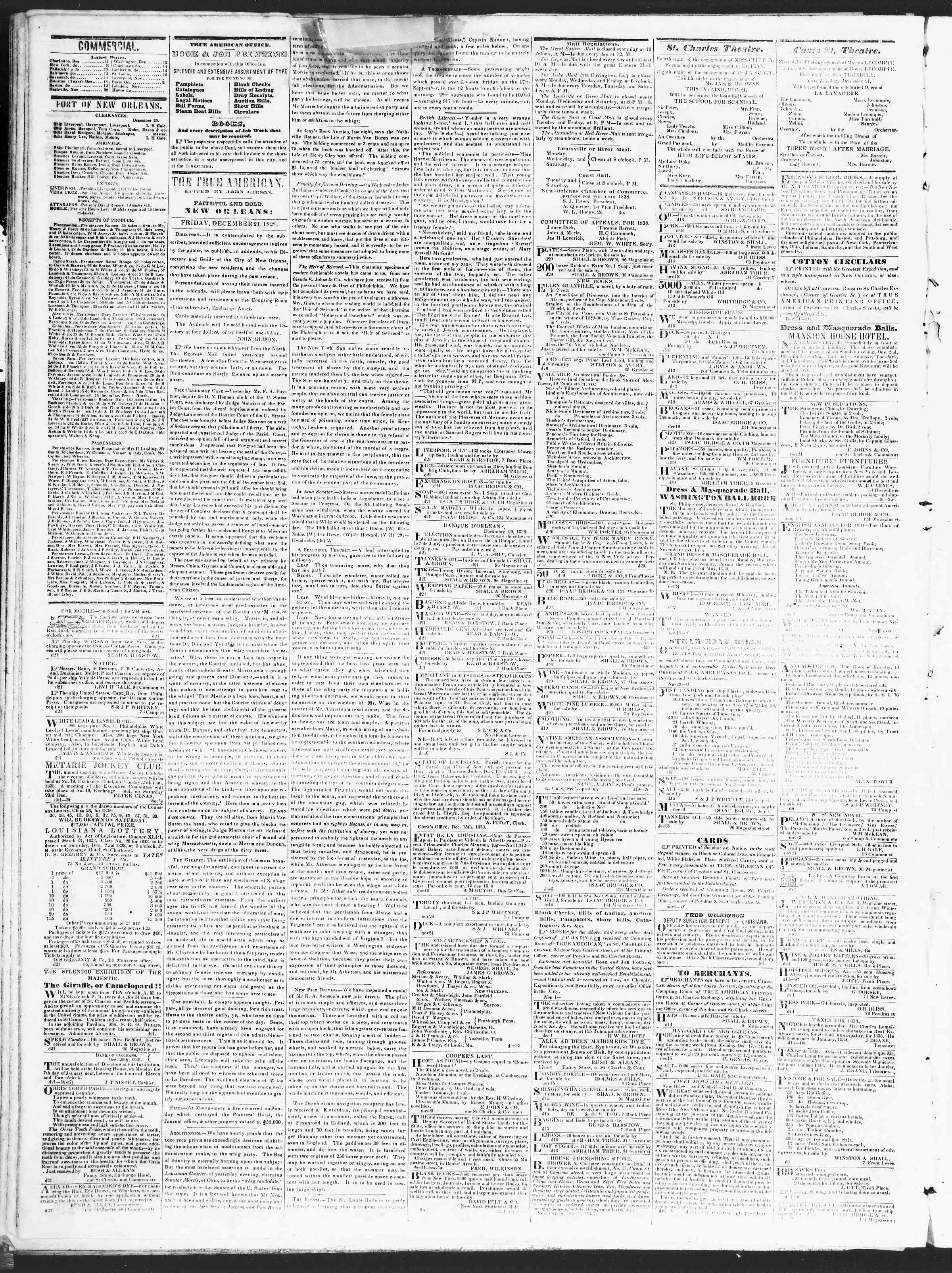 Newspaper of True American dated December 21, 1838 Page 2