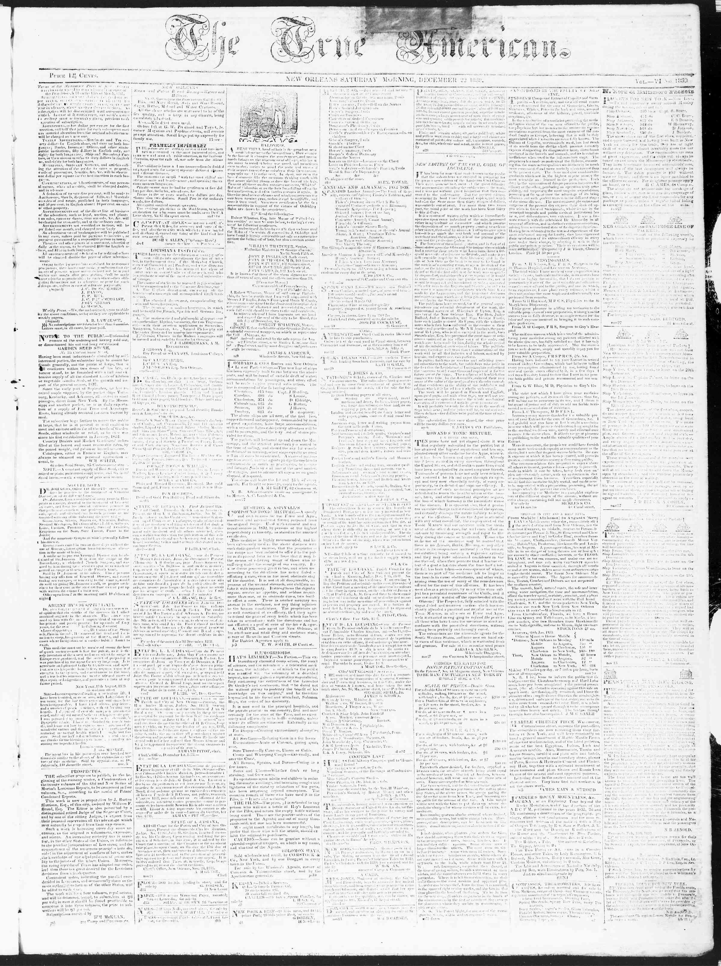 December 22, 1838 Tarihli True American Gazetesi Sayfa 1