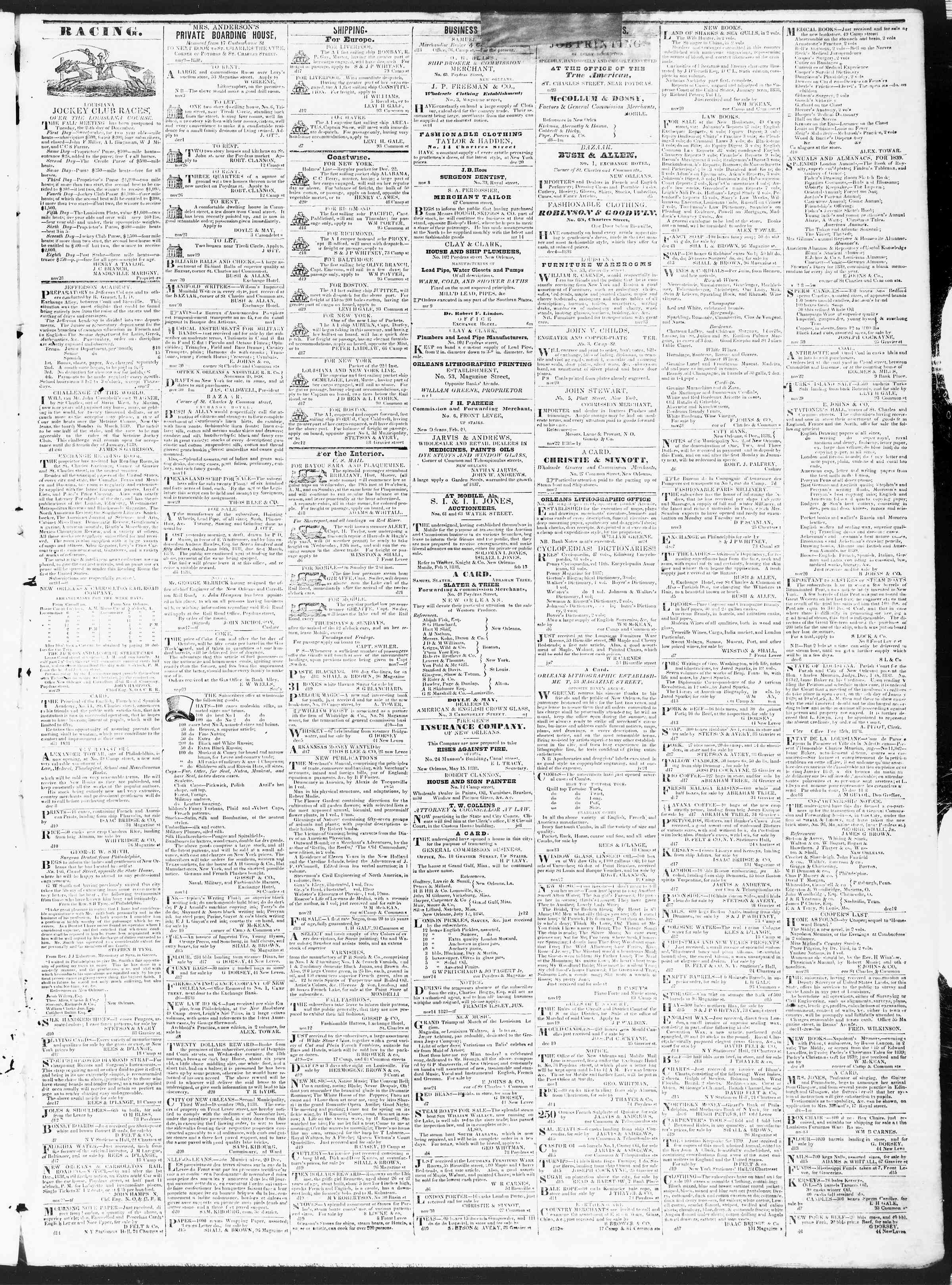 Newspaper of True American dated December 22, 1838 Page 3
