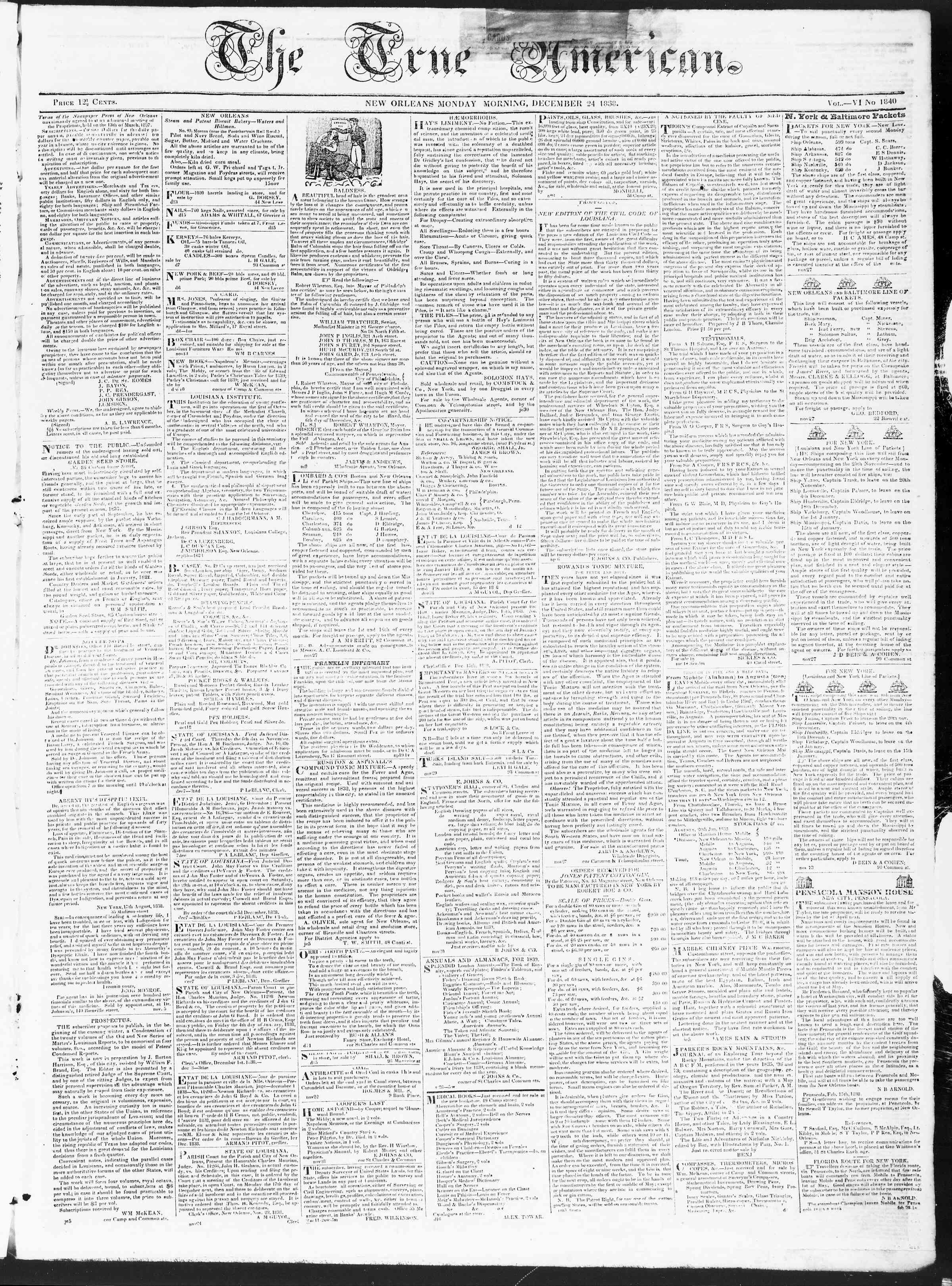 24 Aralık 1838 Tarihli True American Gazetesi Sayfa 1