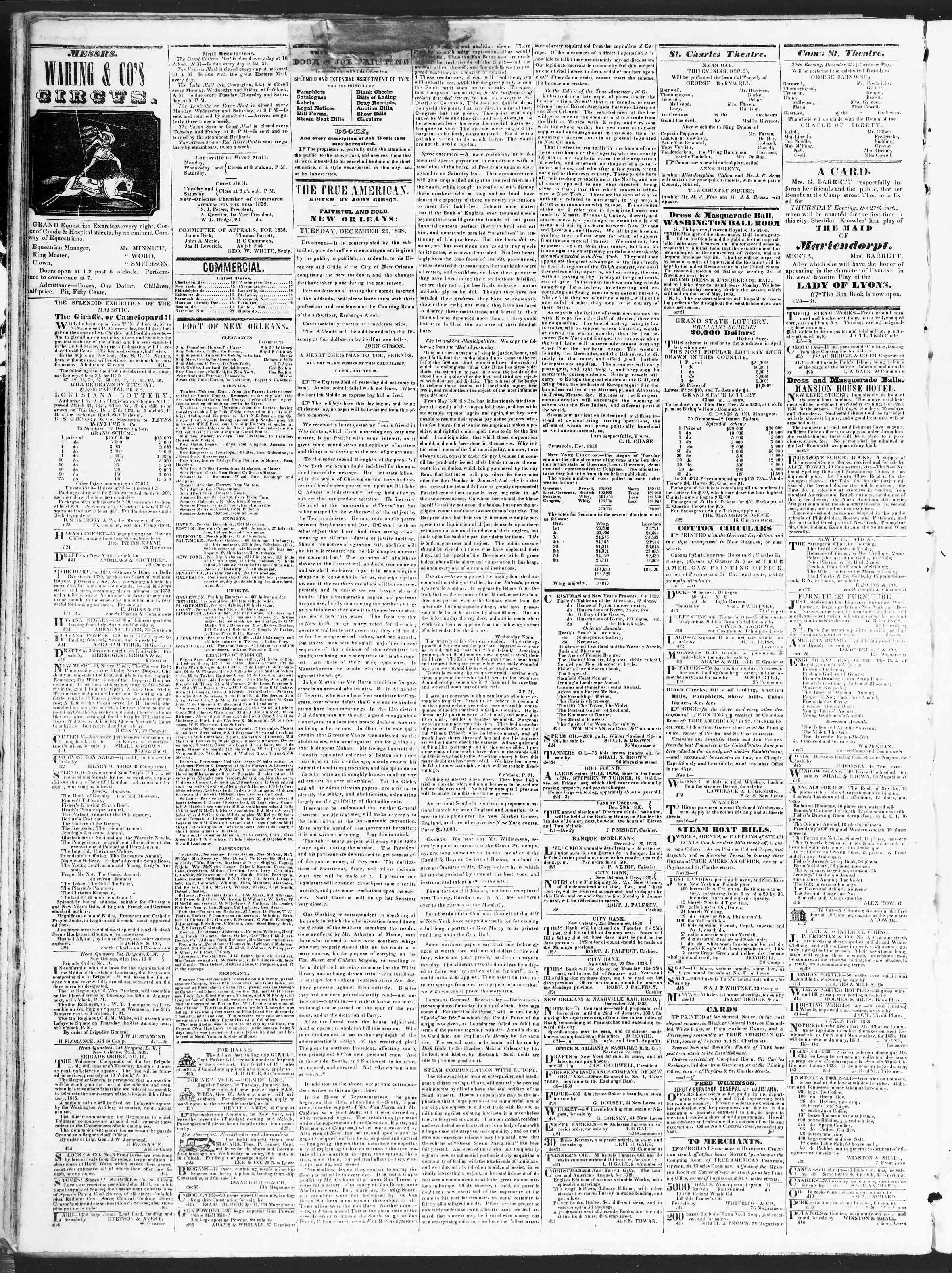 December 25, 1838 Tarihli True American Gazetesi Sayfa 2