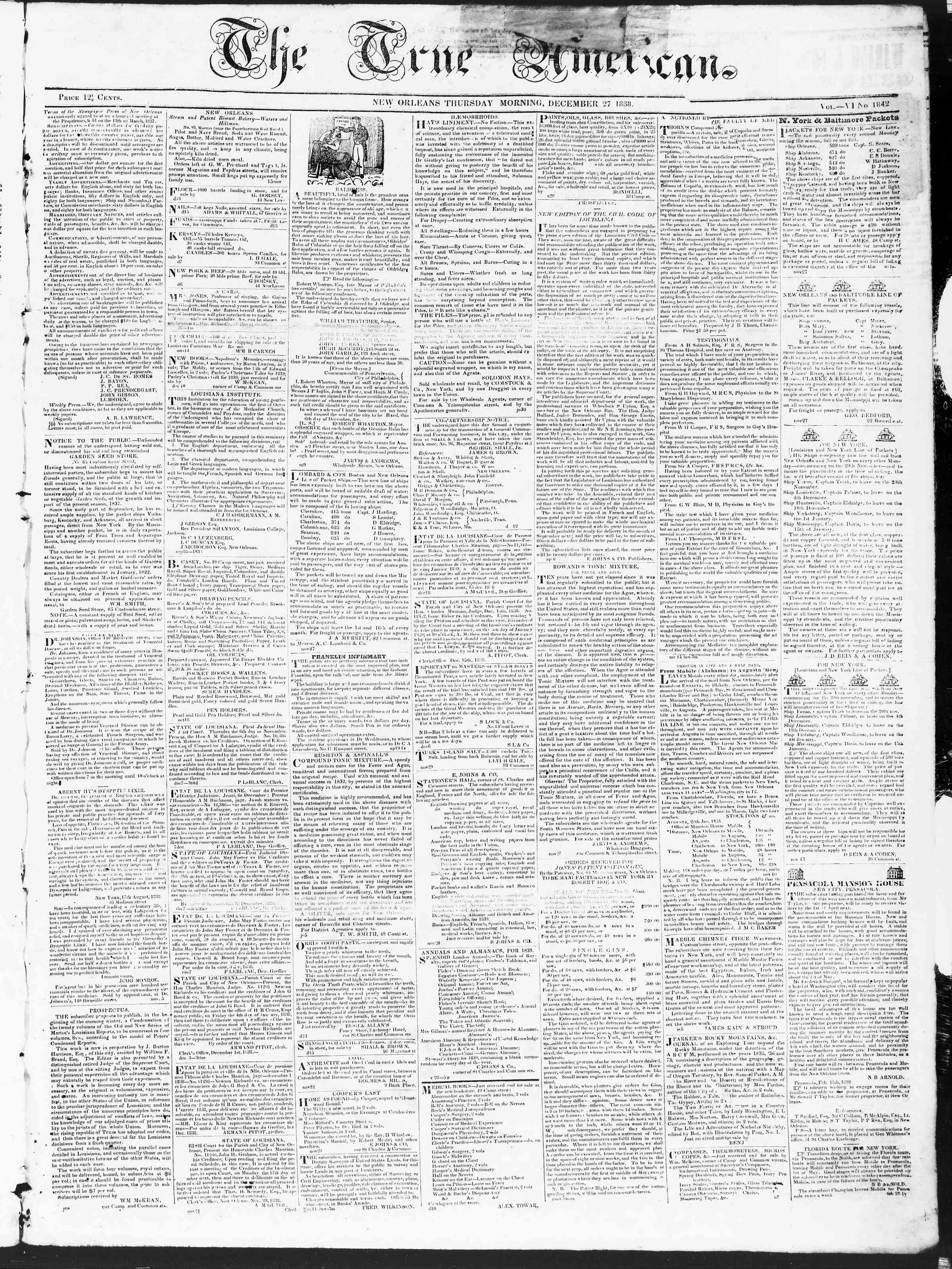 Newspaper of True American dated December 27, 1838 Page 1