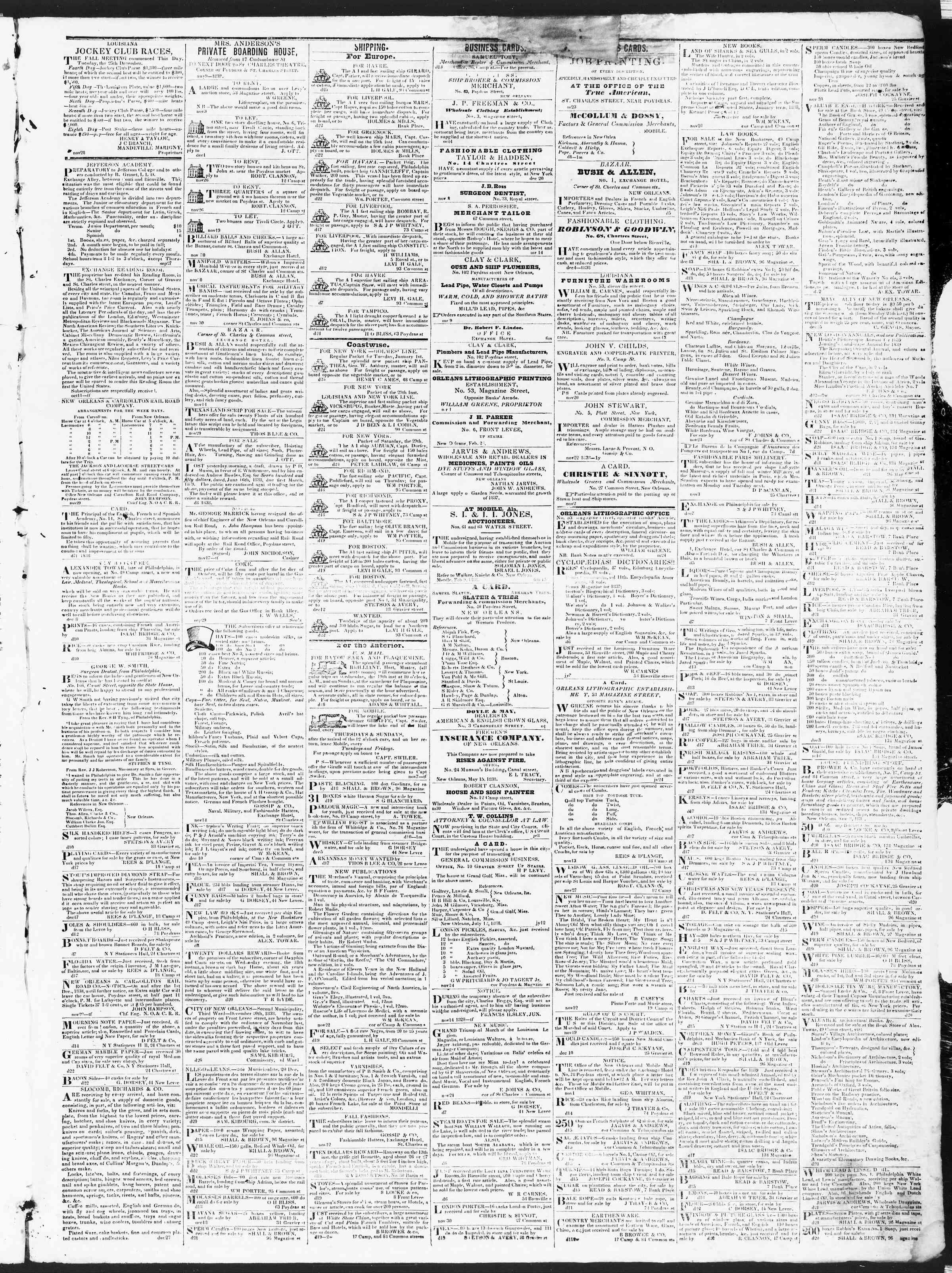 December 27, 1838 Tarihli True American Gazetesi Sayfa 3