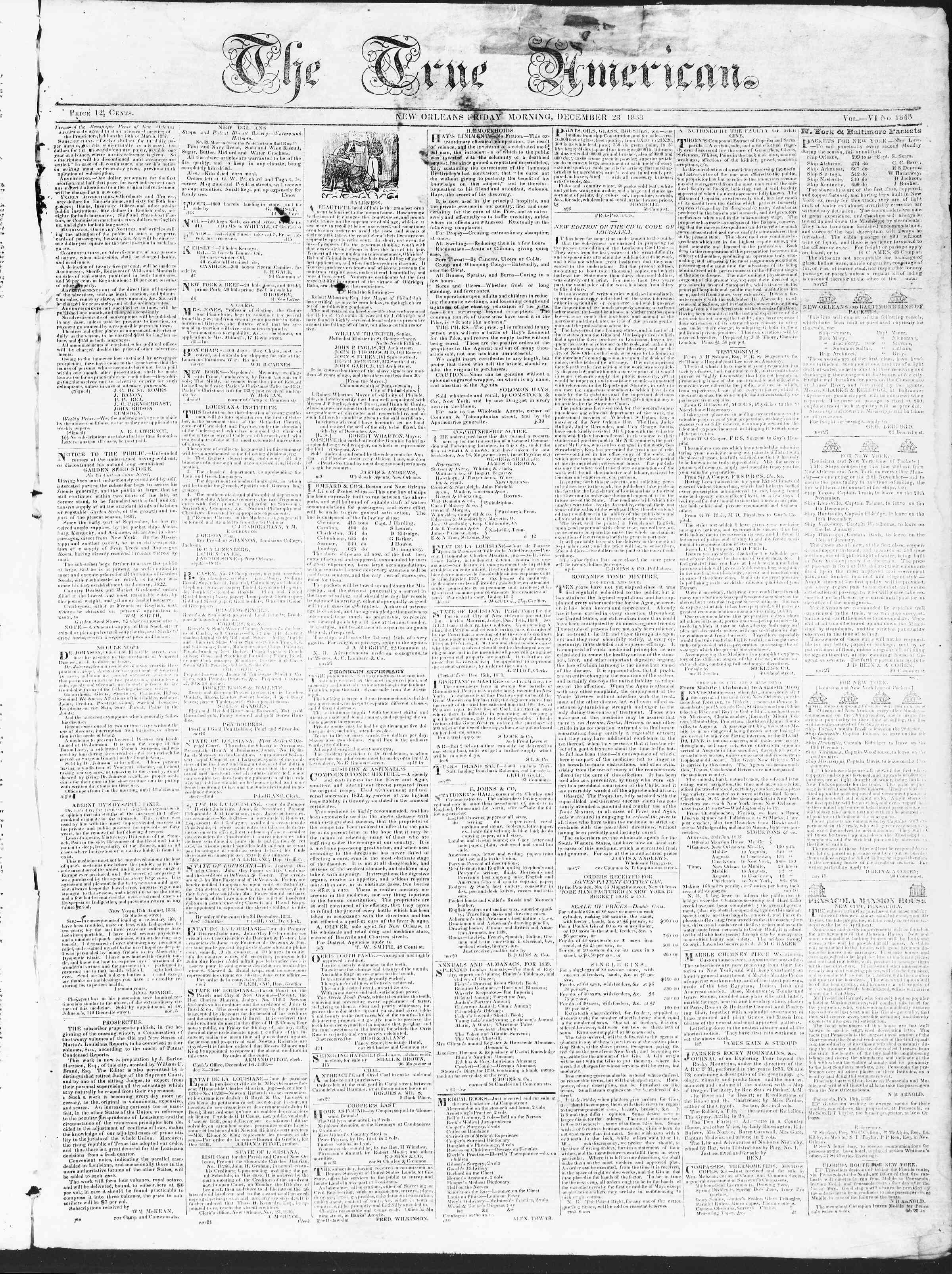 December 28, 1838 Tarihli True American Gazetesi Sayfa 1