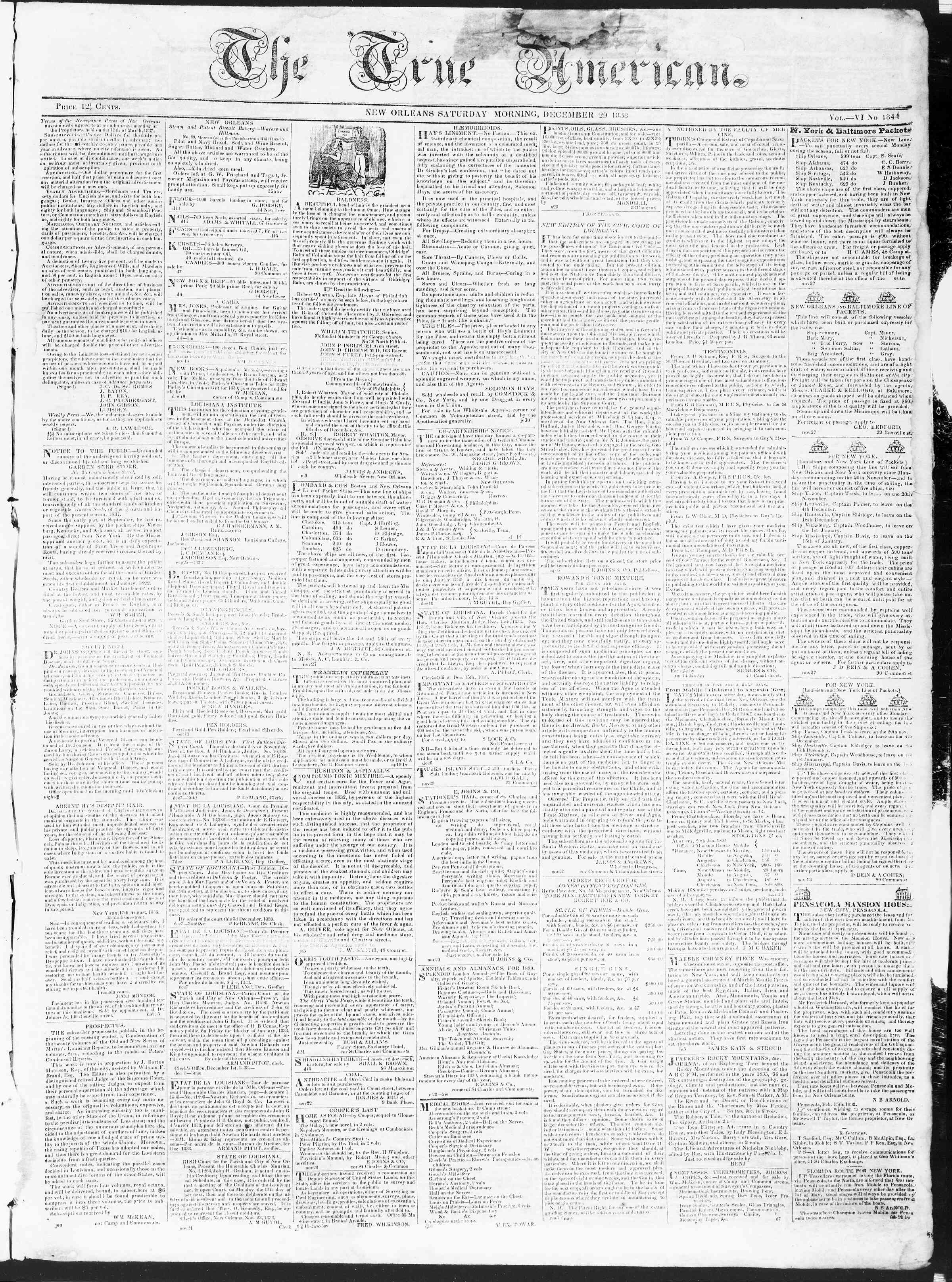Newspaper of True American dated December 29, 1838 Page 1