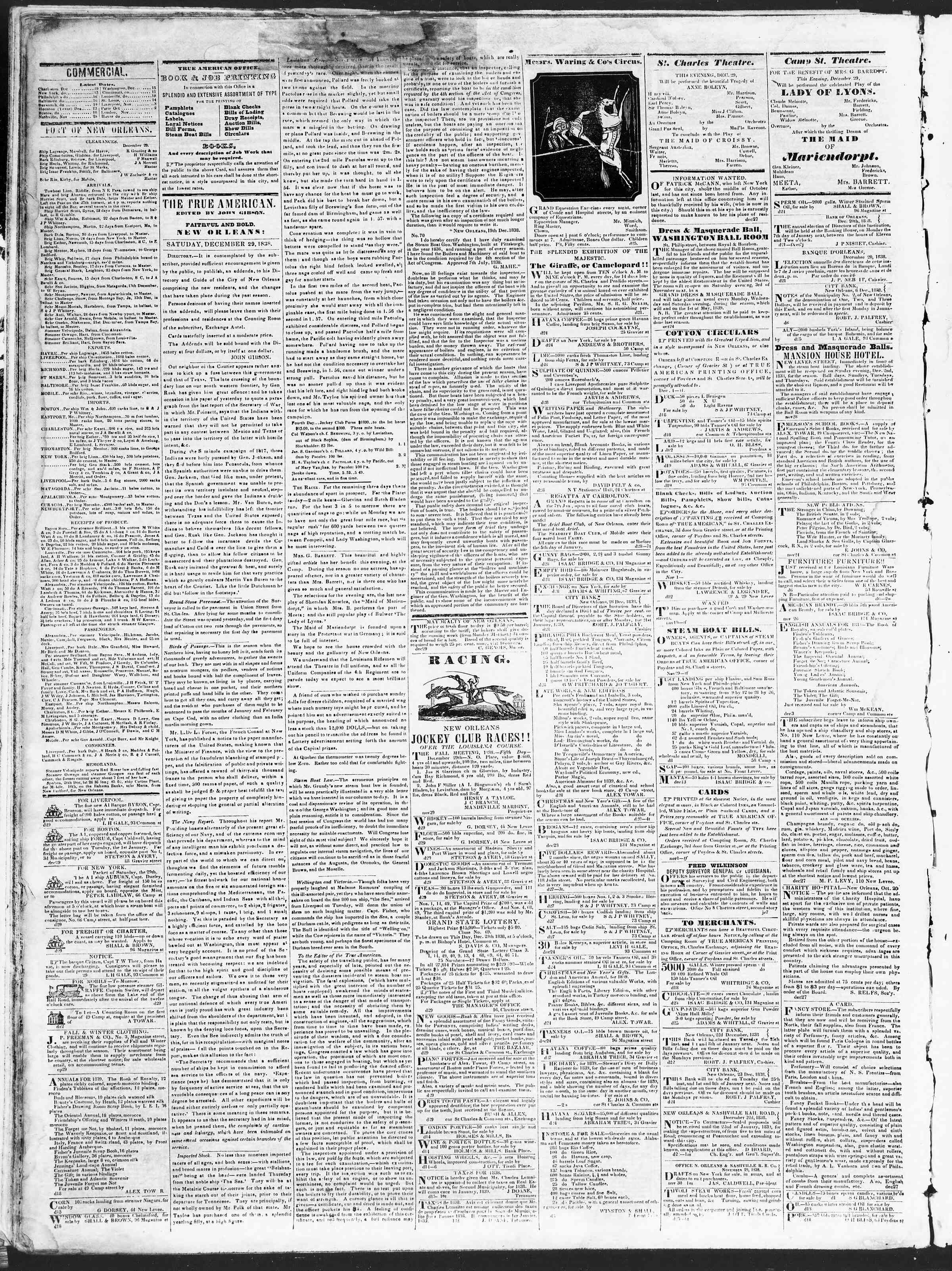 Newspaper of True American dated December 29, 1838 Page 2