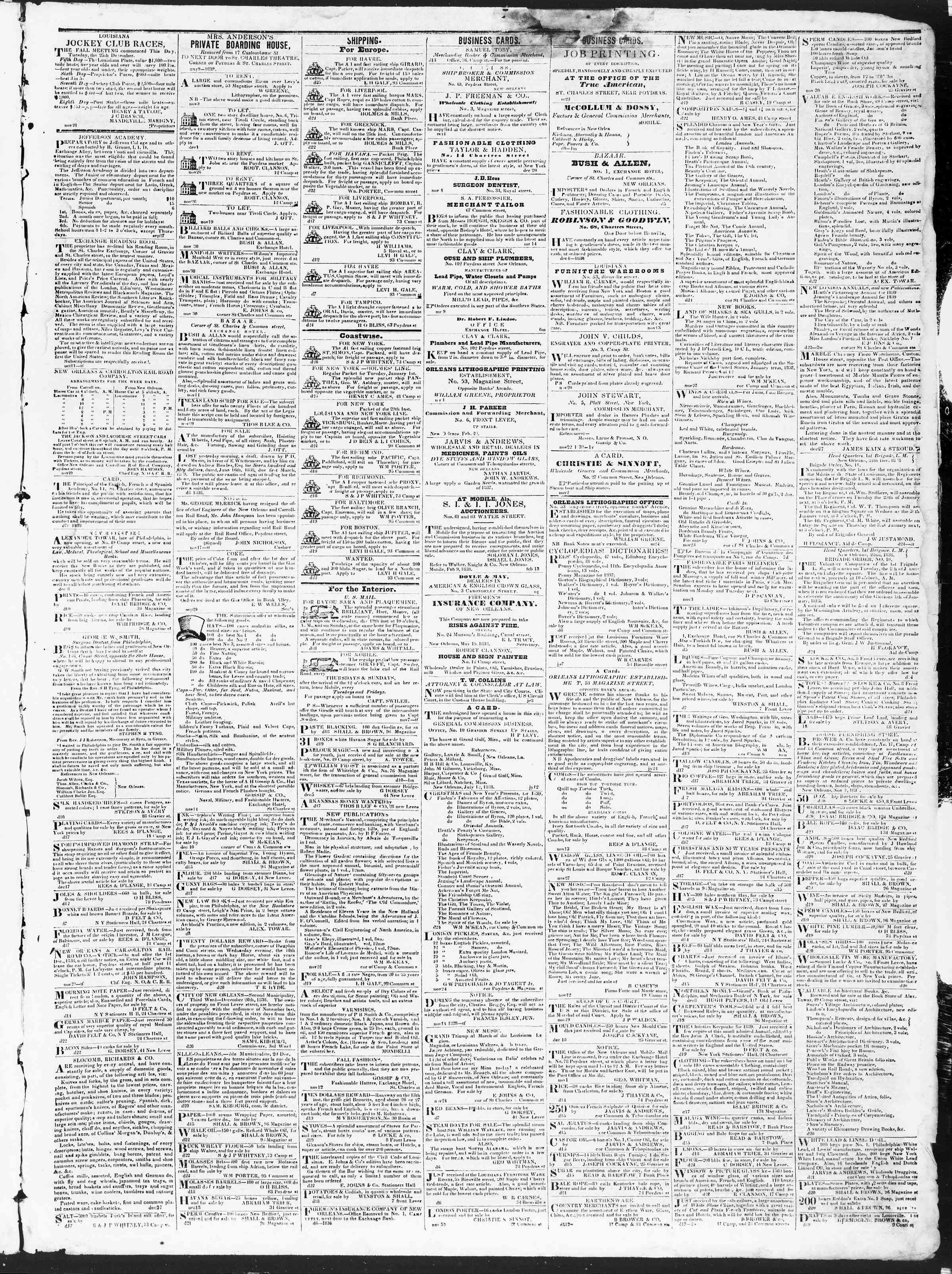 Newspaper of True American dated December 29, 1838 Page 3