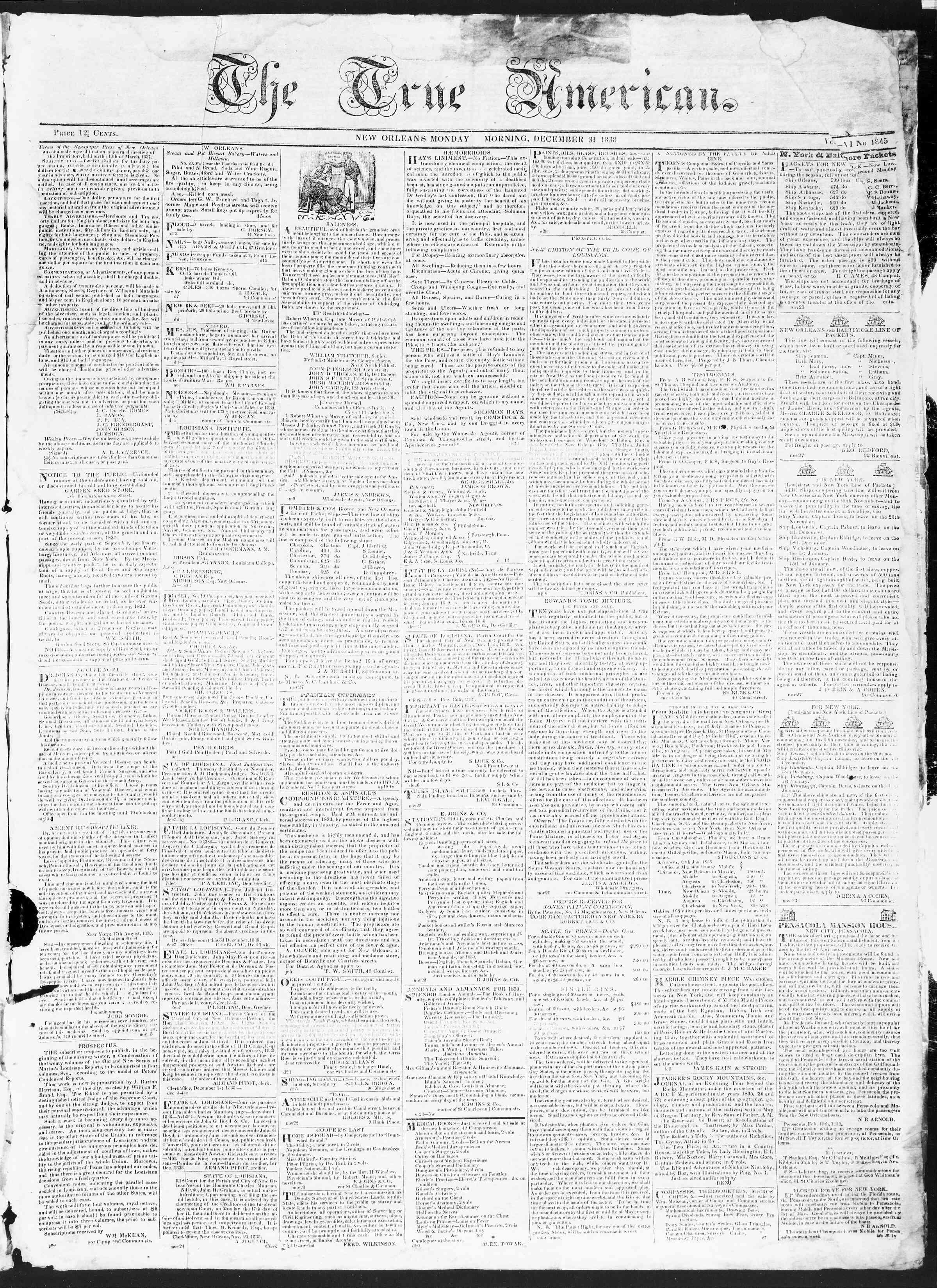 December 31, 1838 Tarihli True American Gazetesi Sayfa 1