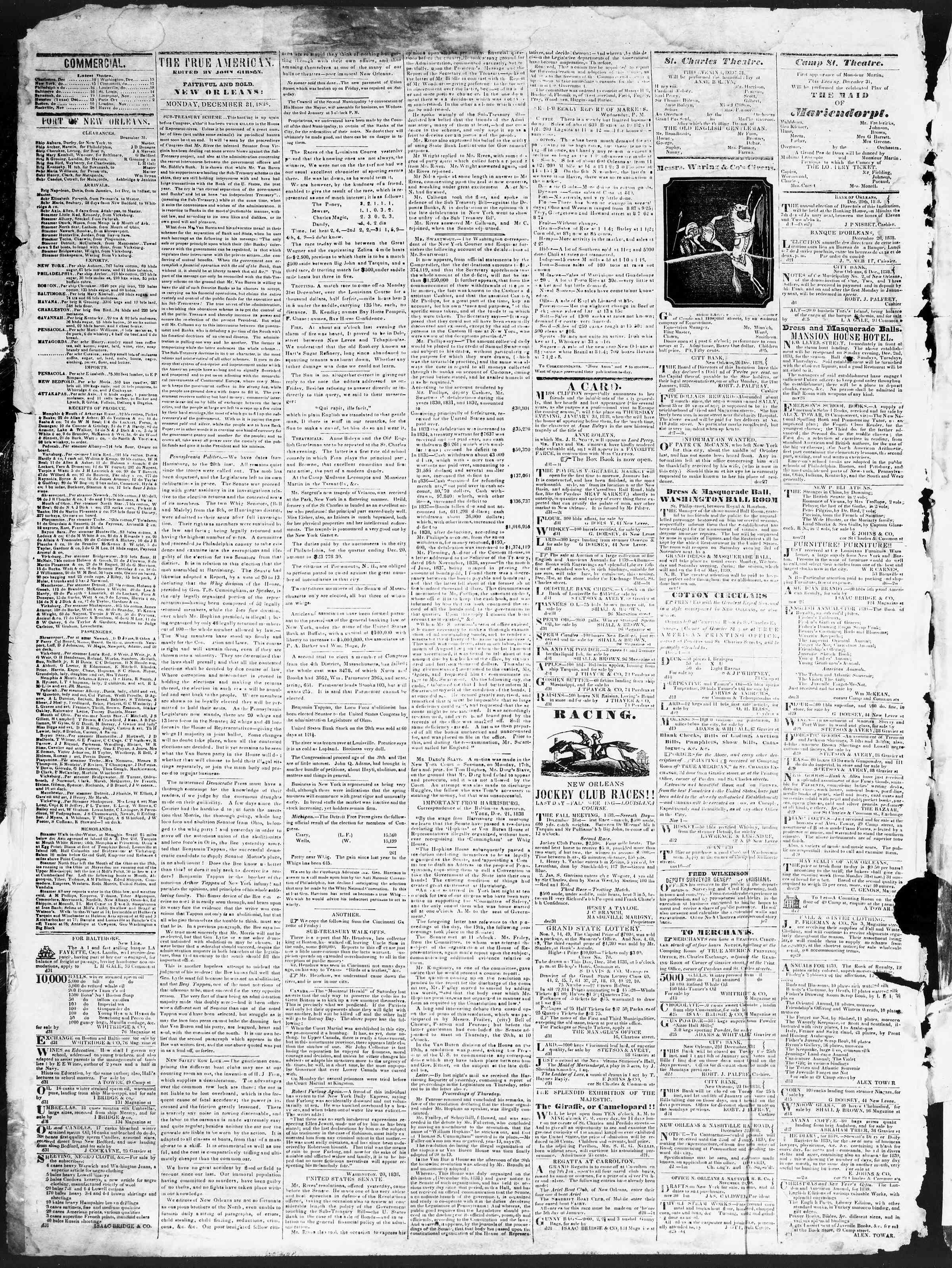 December 31, 1838 Tarihli True American Gazetesi Sayfa 2