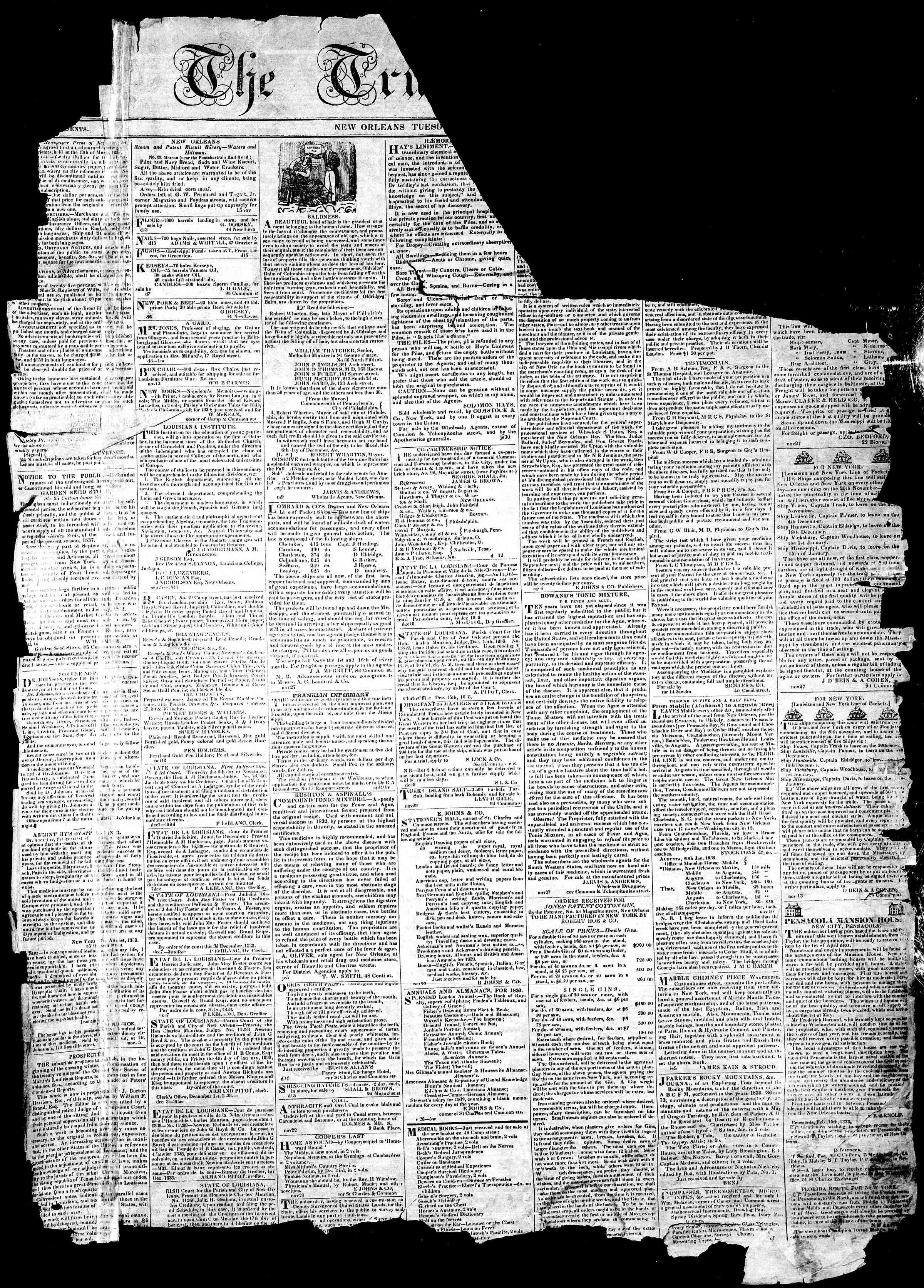January 1, 1839 Tarihli True American Gazetesi Sayfa 1