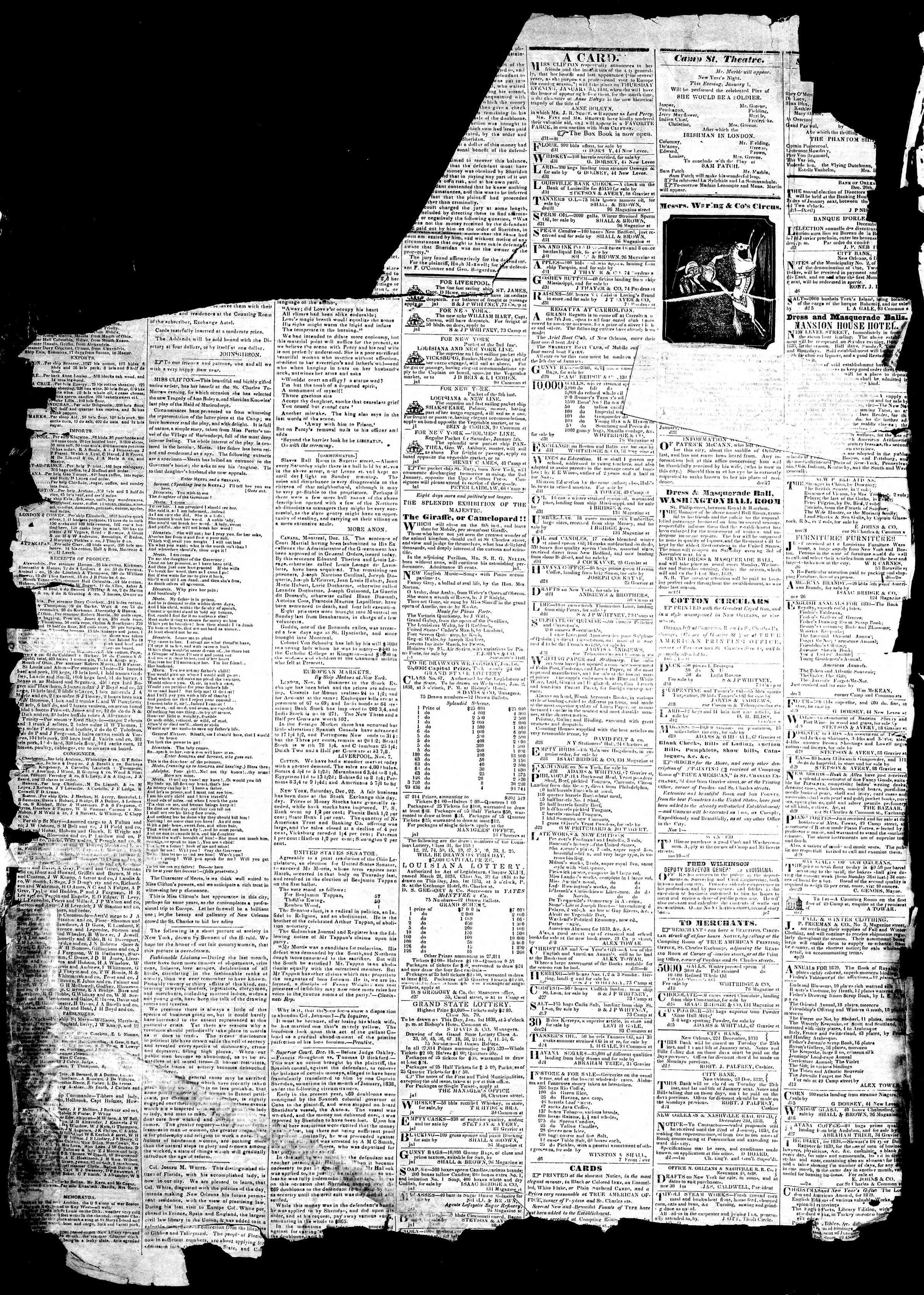 Newspaper of True American dated January 1, 1839 Page 2