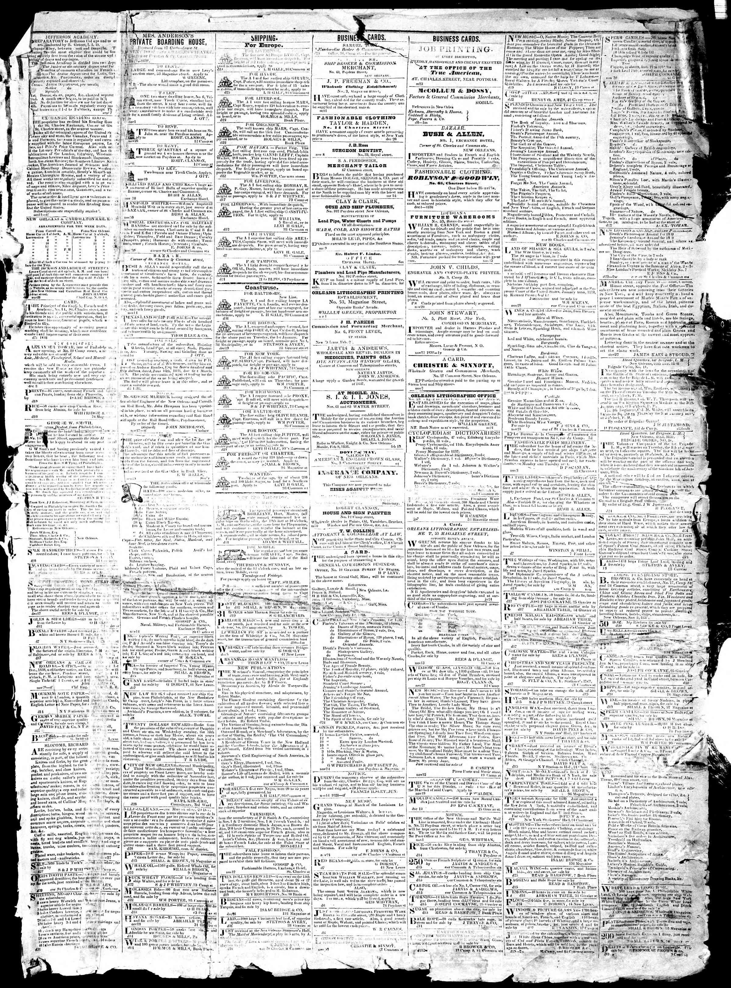 January 1, 1839 Tarihli True American Gazetesi Sayfa 3