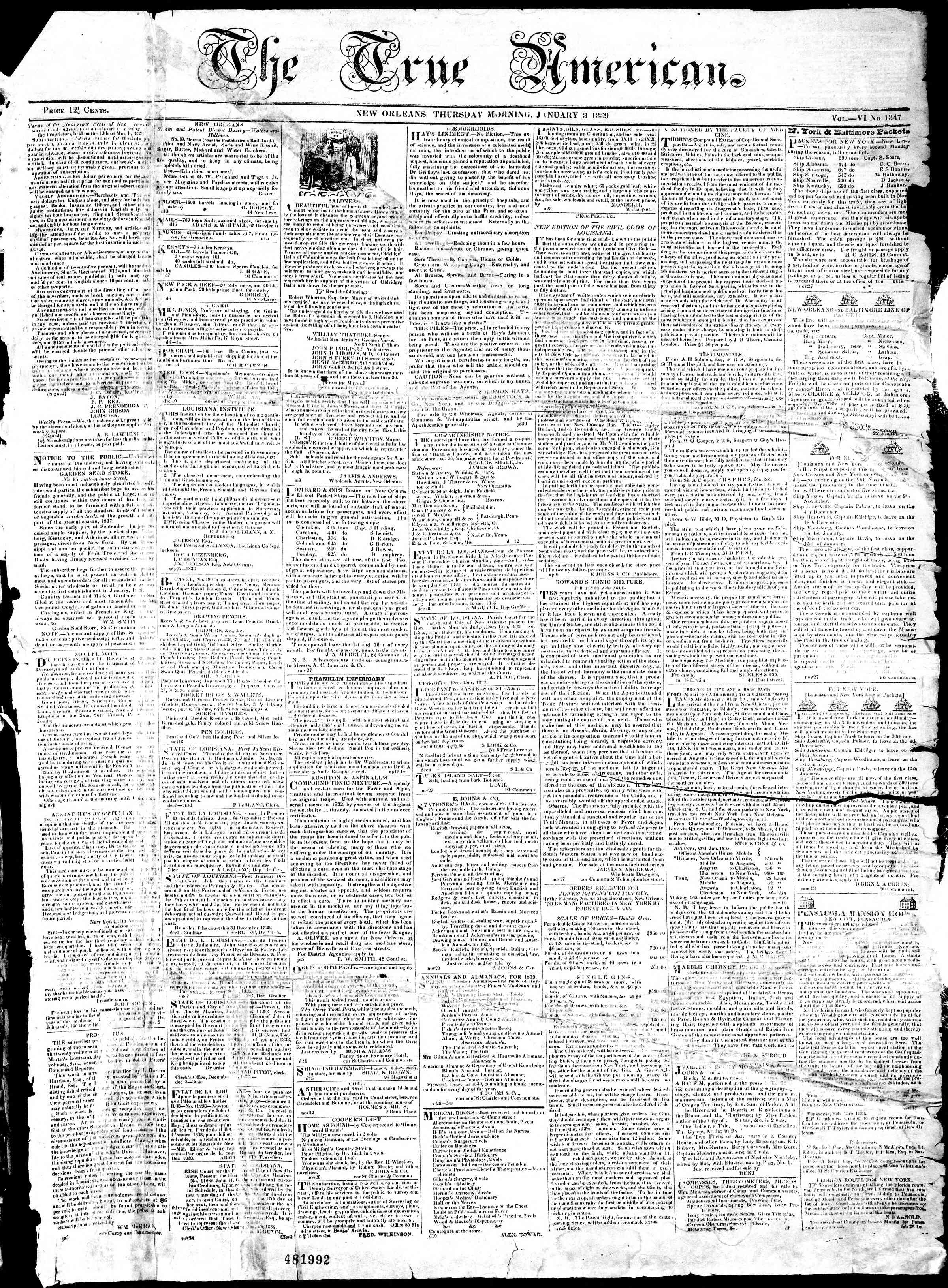 January 3, 1839 Tarihli True American Gazetesi Sayfa 1
