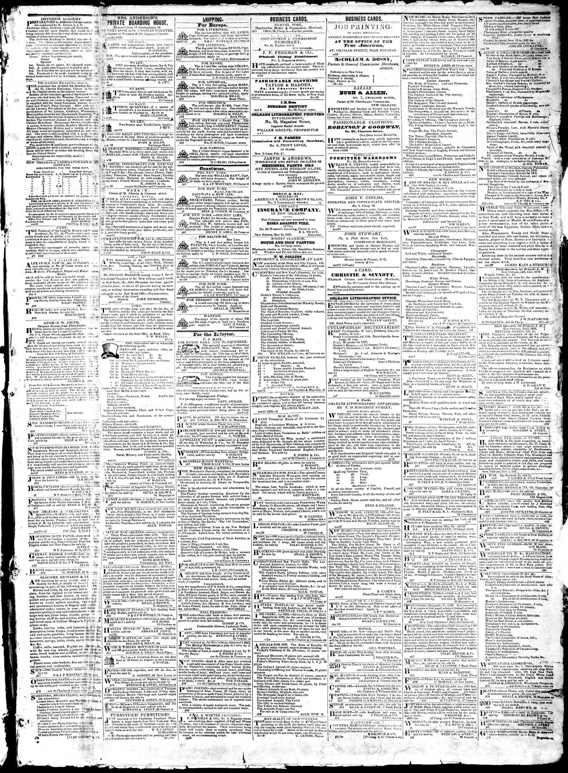 January 3, 1839 Tarihli True American Gazetesi Sayfa 3