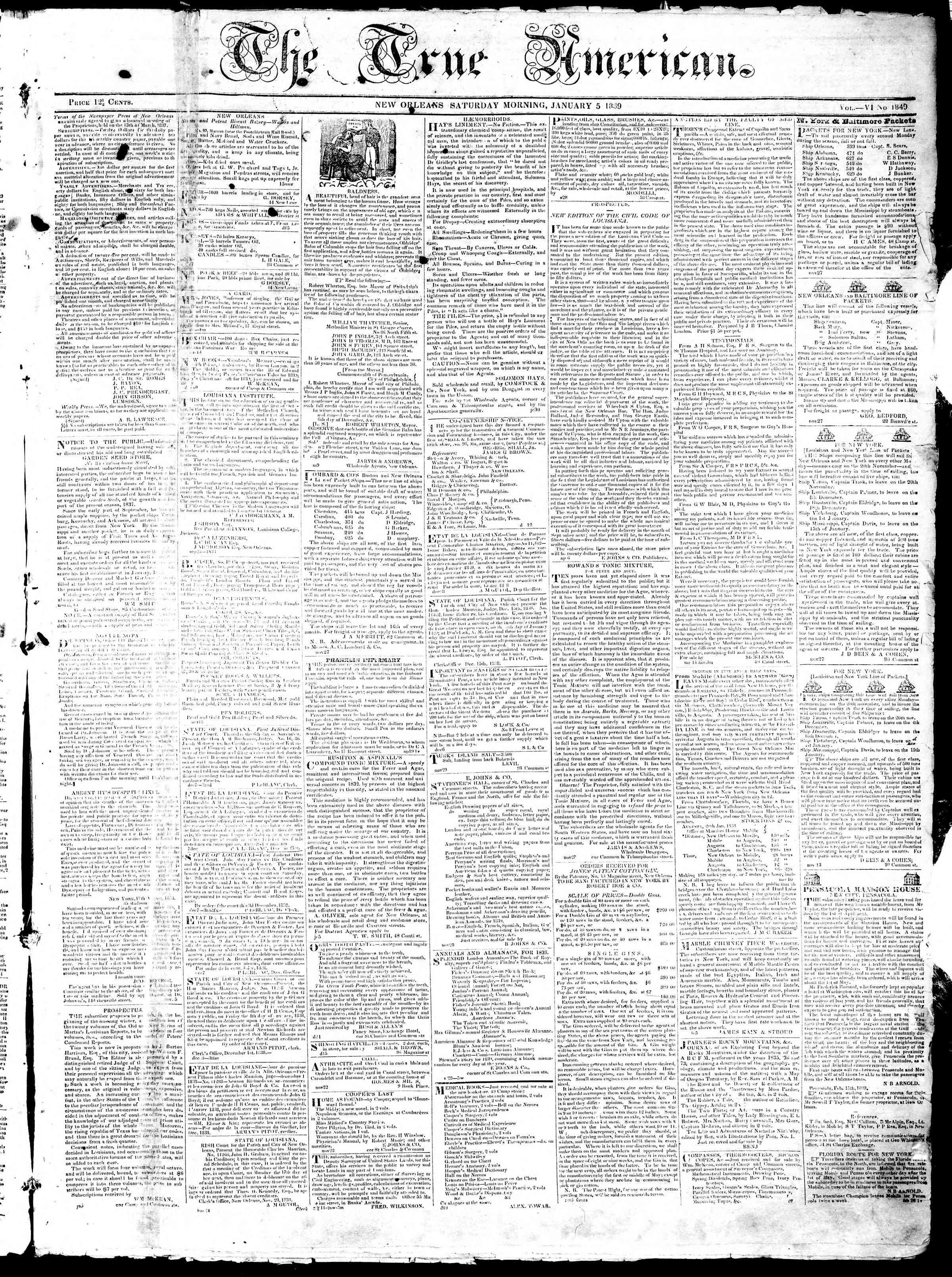 January 5, 1839 Tarihli True American Gazetesi Sayfa 1