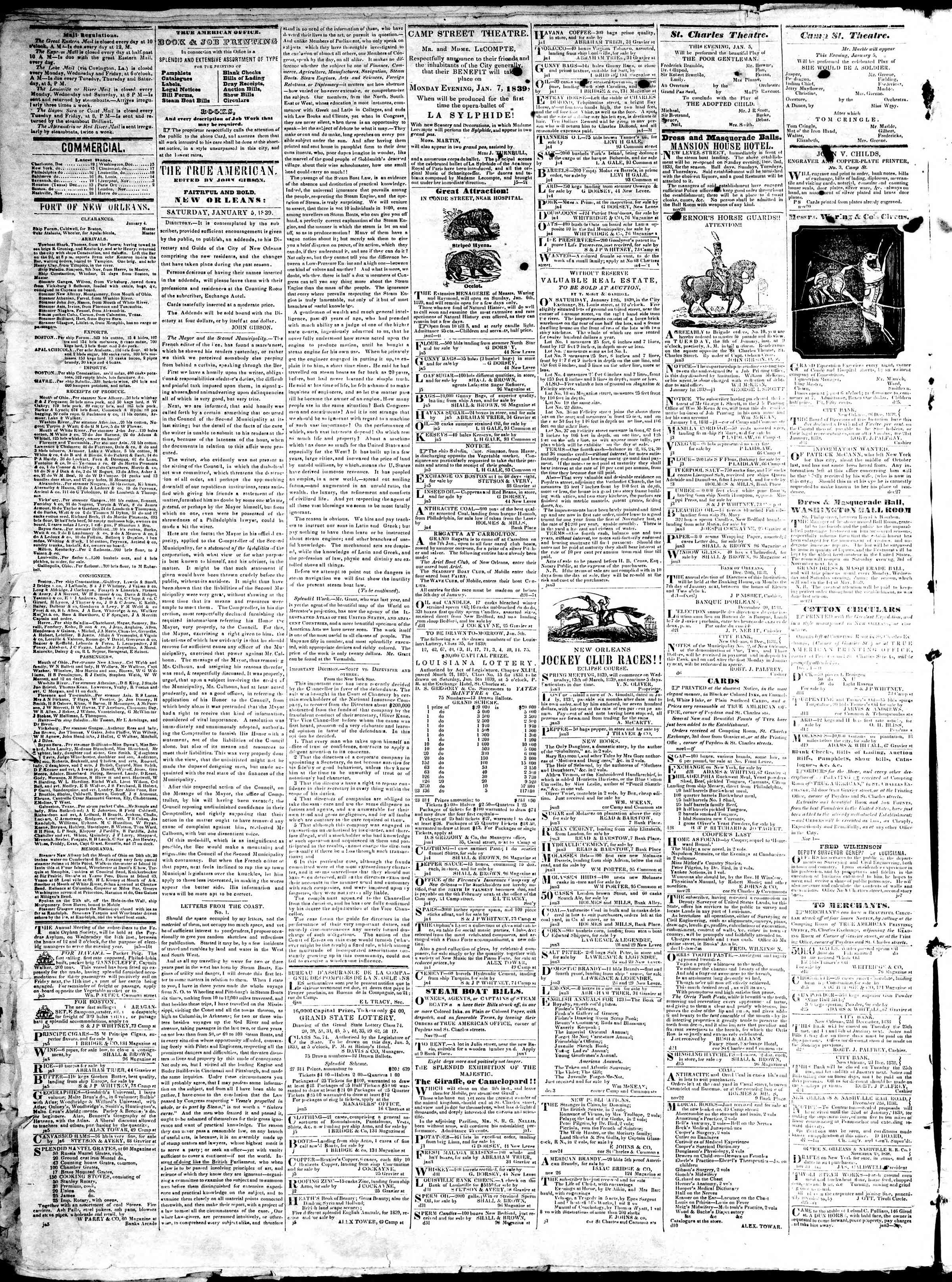Newspaper of True American dated January 5, 1839 Page 2