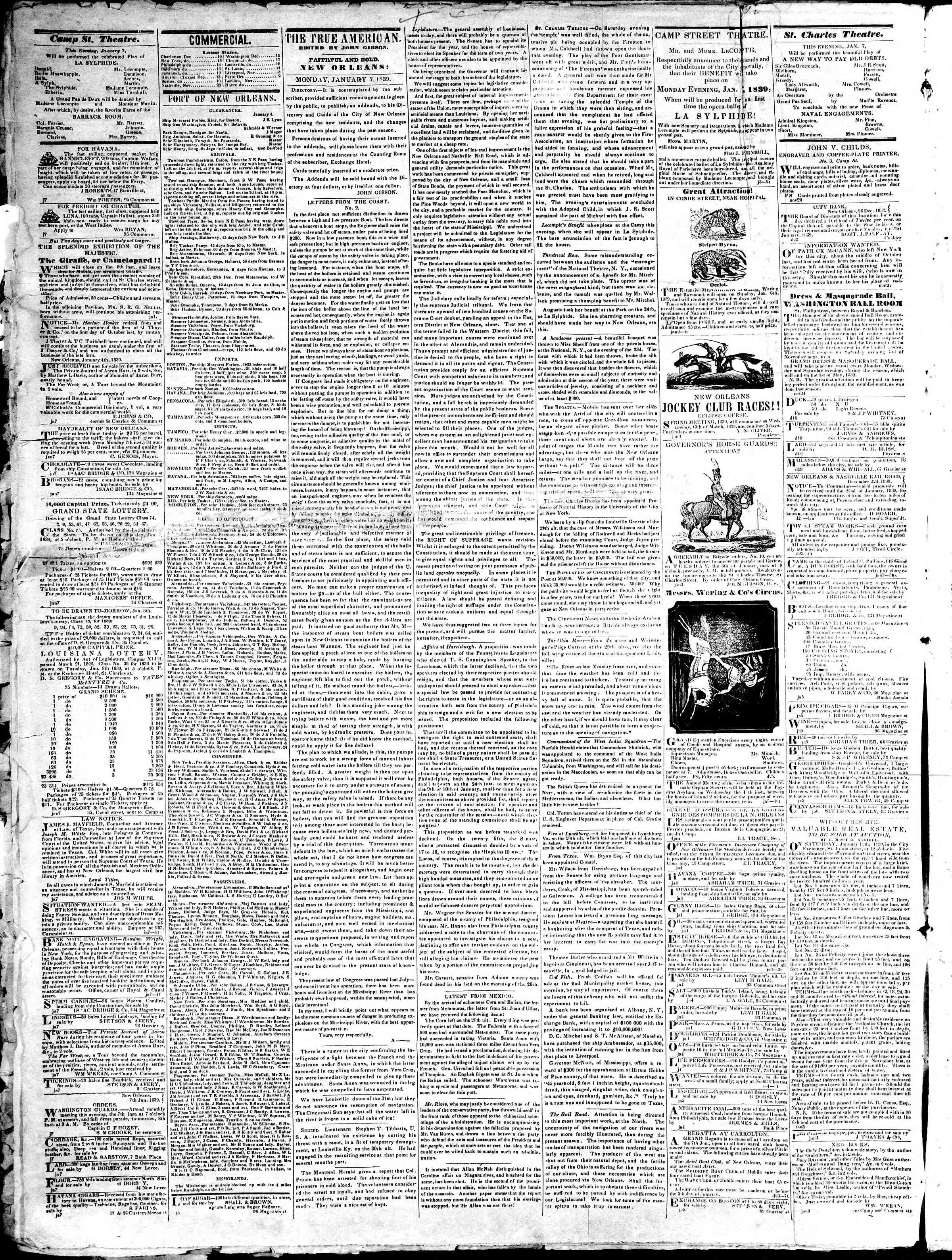 Newspaper of True American dated January 7, 1839 Page 2