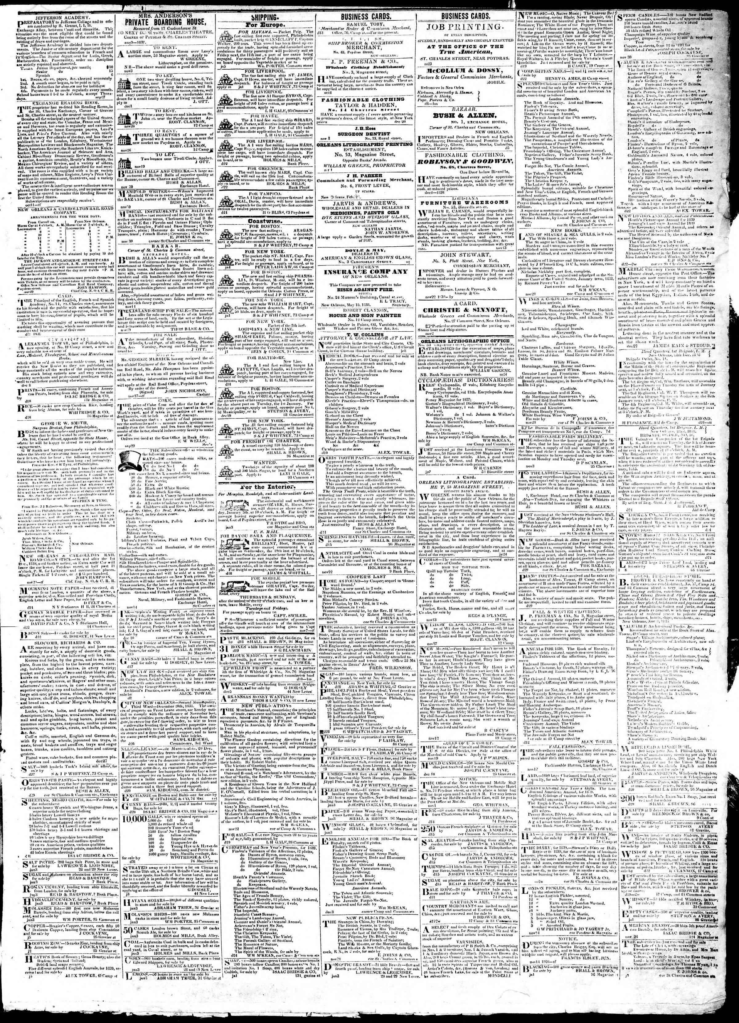 January 7, 1839 Tarihli True American Gazetesi Sayfa 3