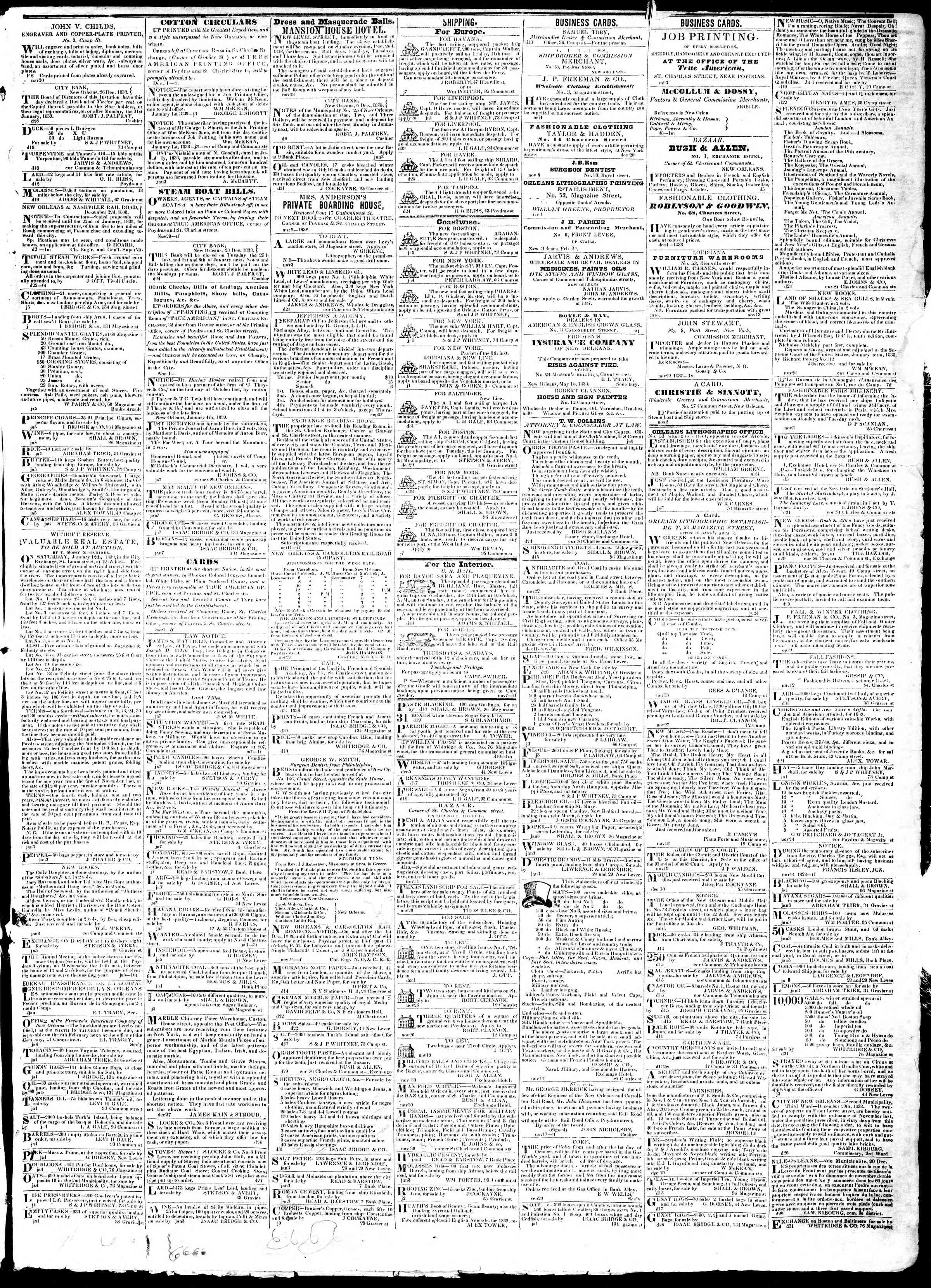 Newspaper of True American dated January 8, 1839 Page 3