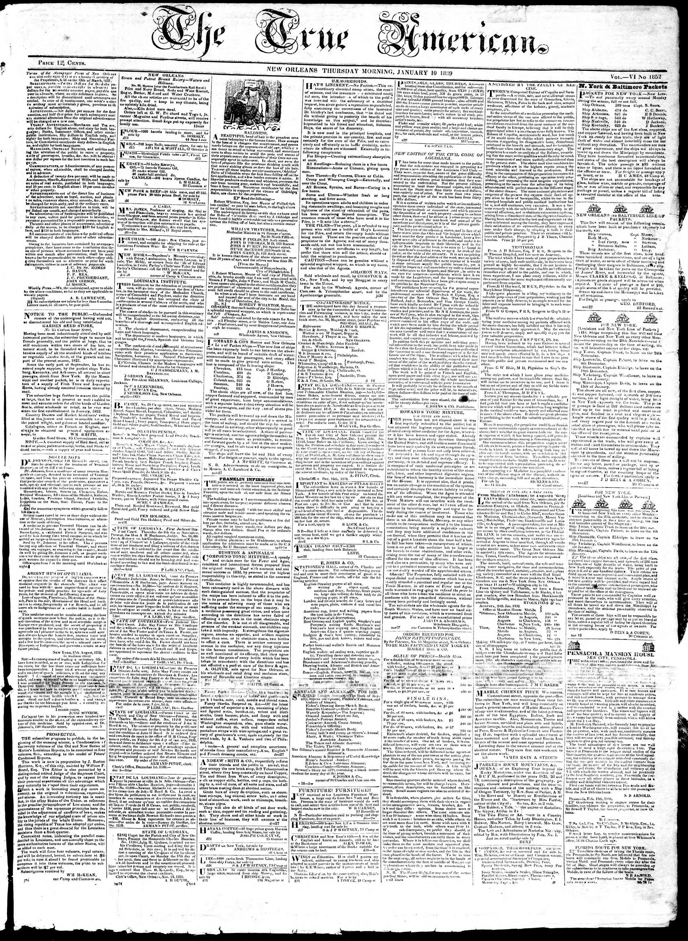 January 10, 1839 Tarihli True American Gazetesi Sayfa 1