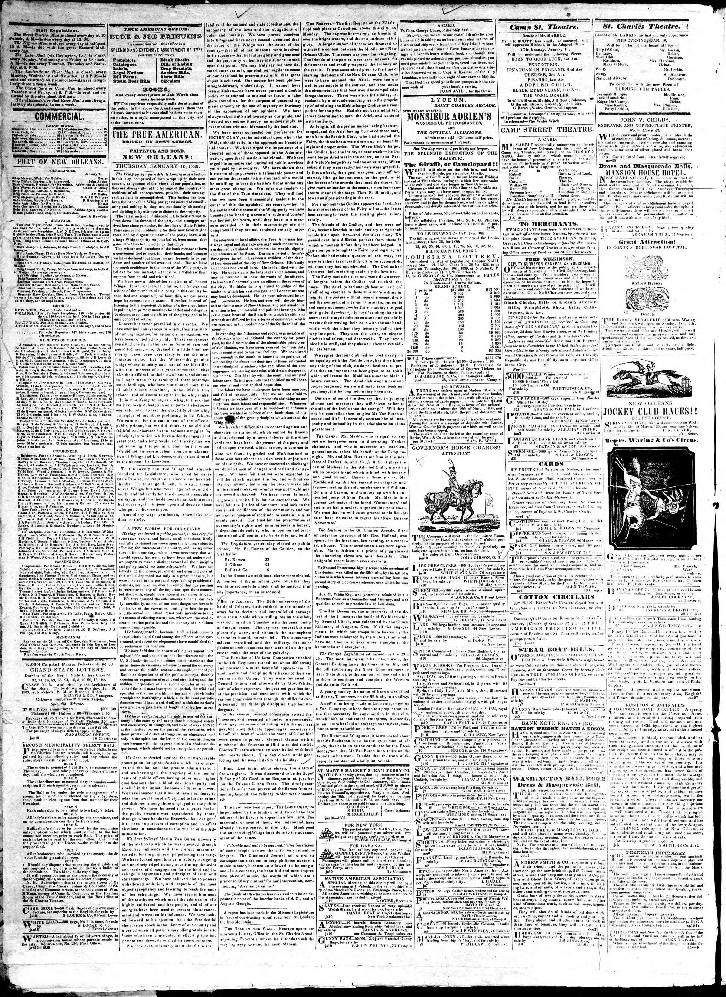 January 10, 1839 Tarihli True American Gazetesi Sayfa 2