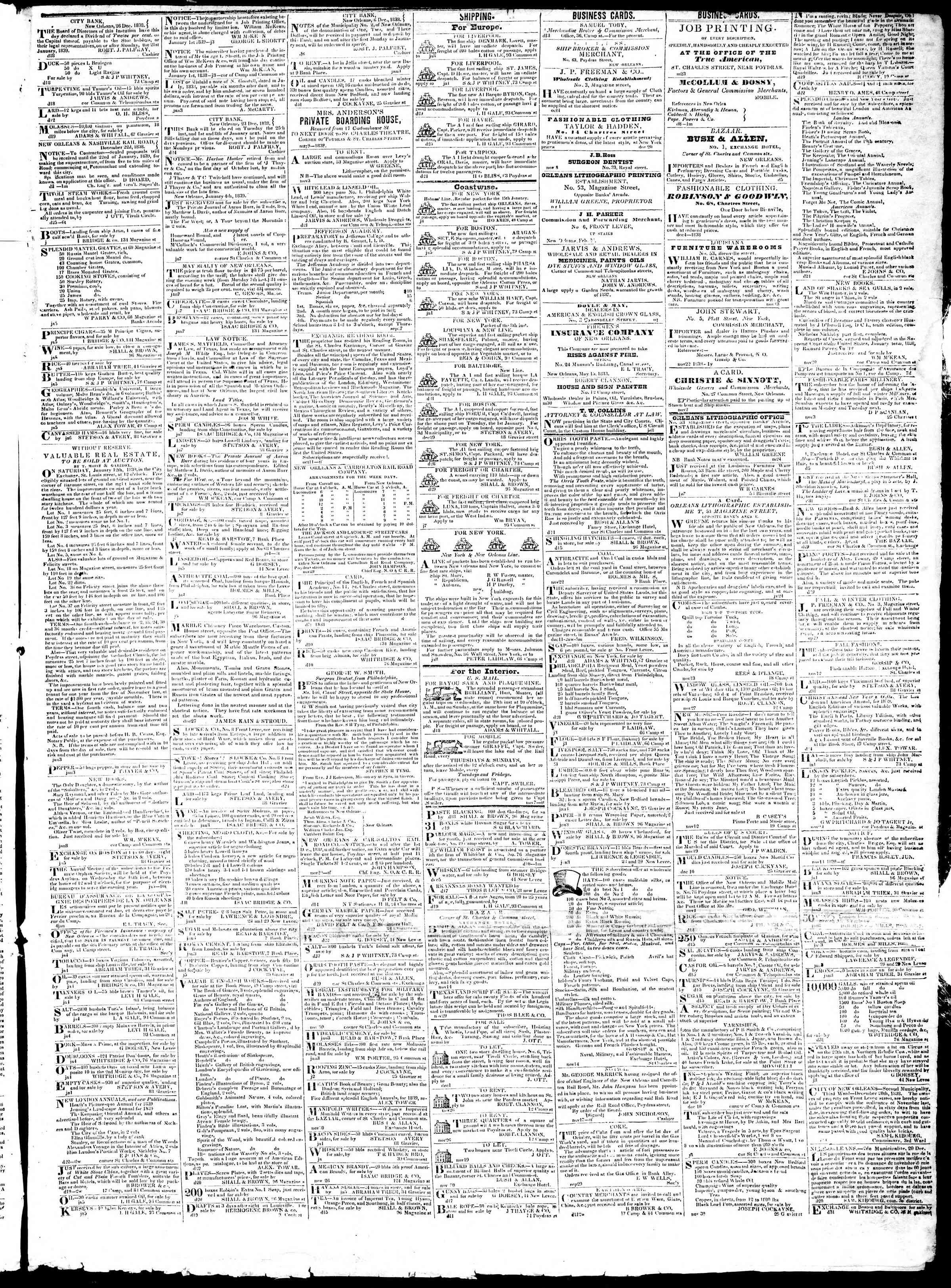 January 10, 1839 Tarihli True American Gazetesi Sayfa 3