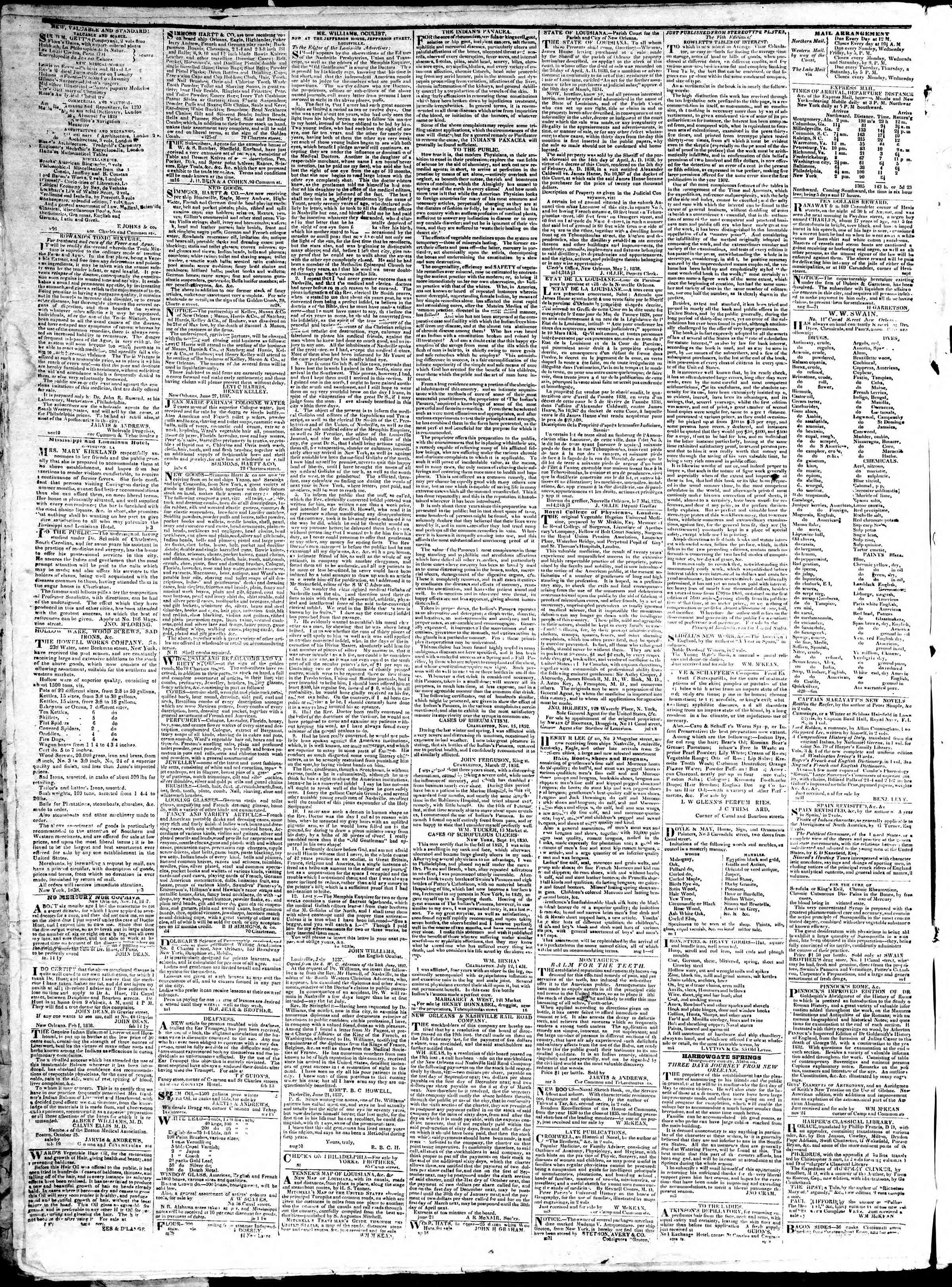 January 10, 1839 Tarihli True American Gazetesi Sayfa 4