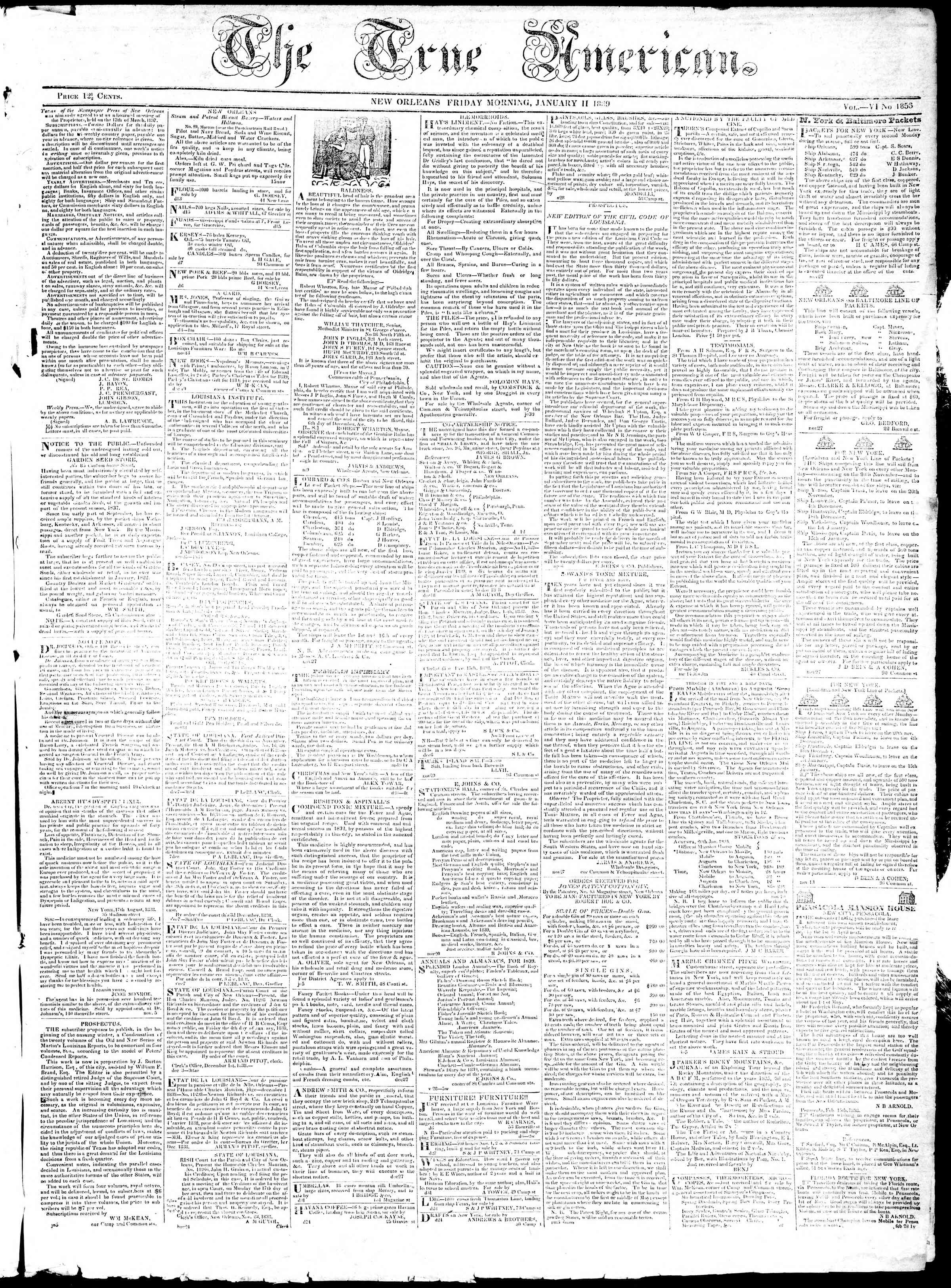 January 11, 1839 Tarihli True American Gazetesi Sayfa 1
