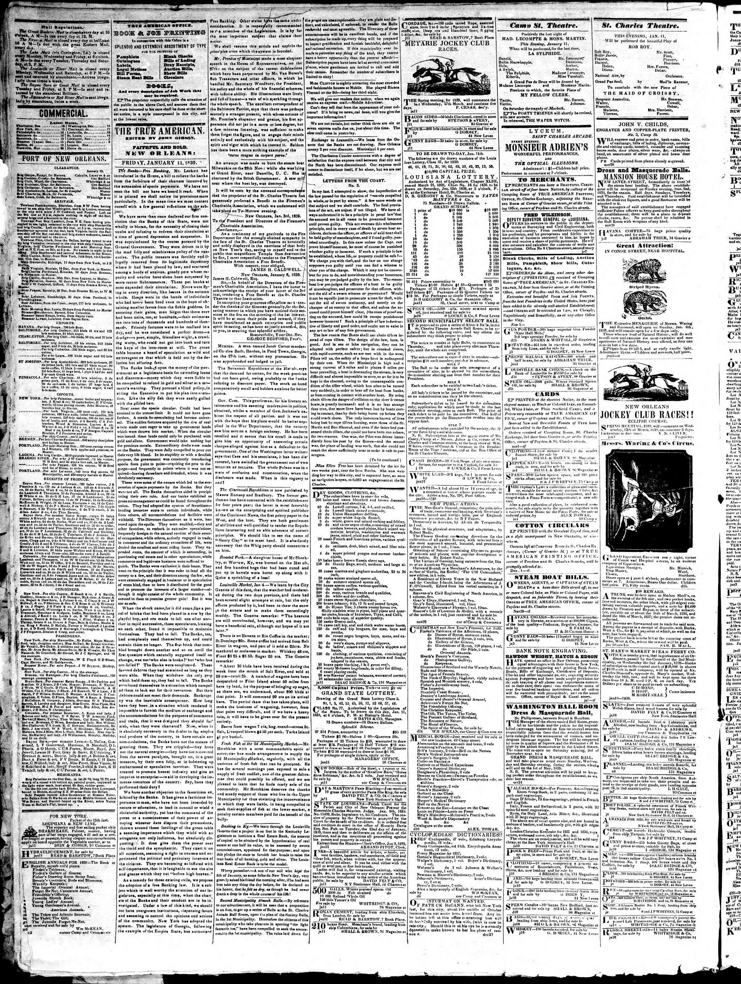 January 11, 1839 Tarihli True American Gazetesi Sayfa 2