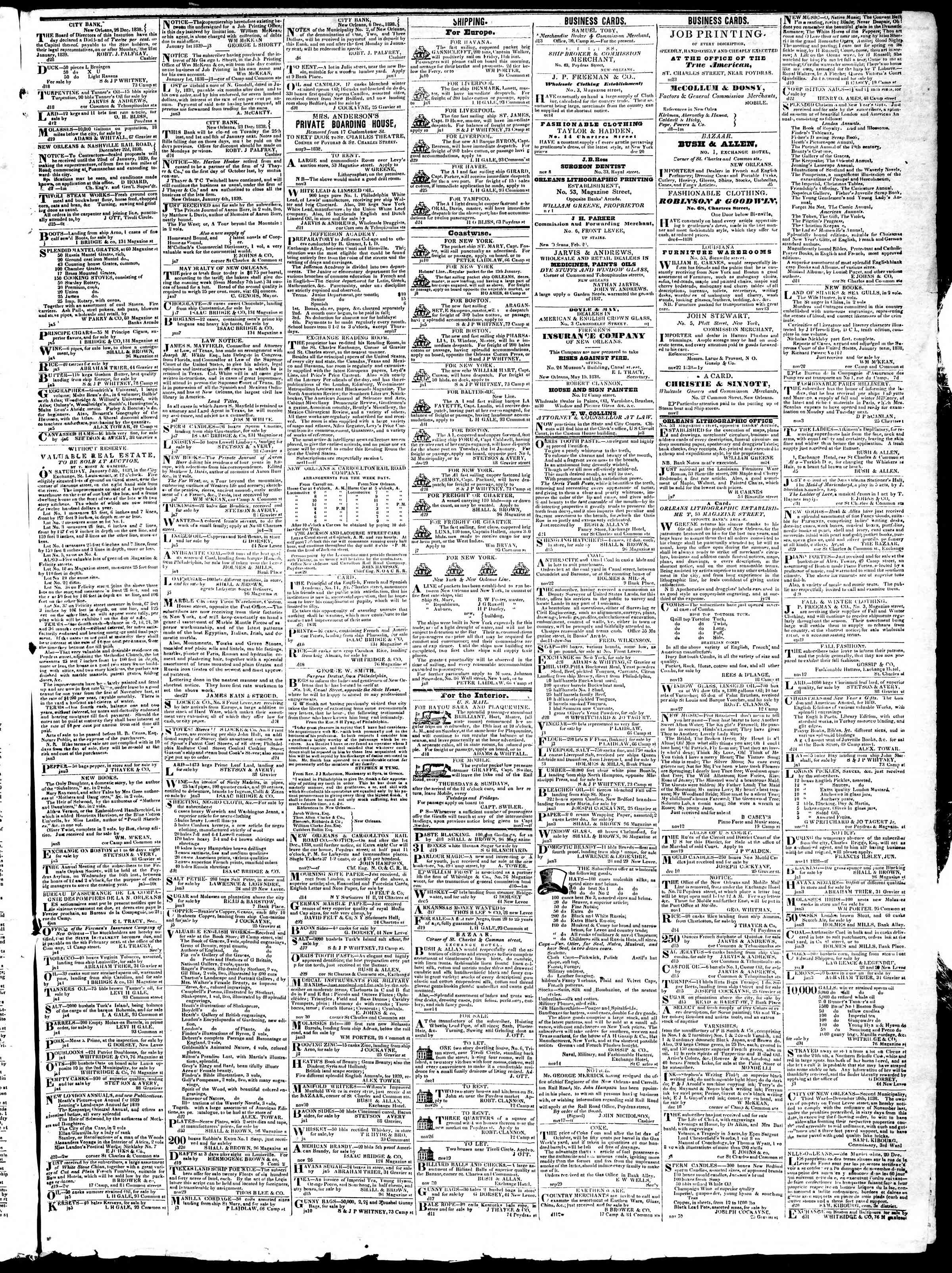 January 11, 1839 Tarihli True American Gazetesi Sayfa 3