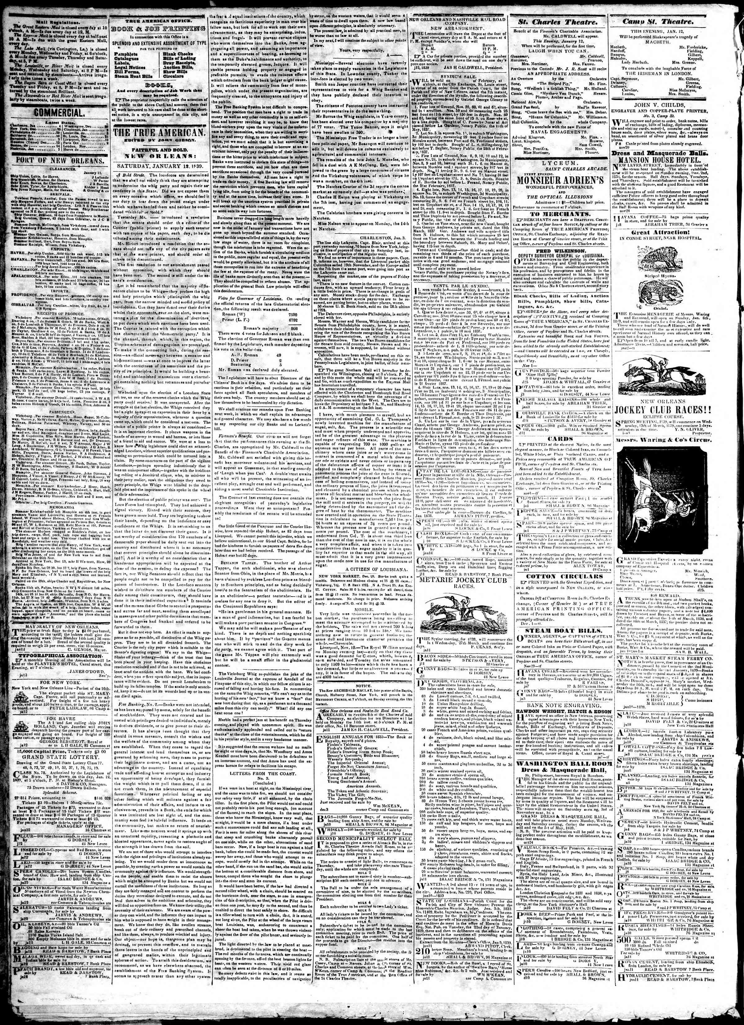 January 12, 1839 Tarihli True American Gazetesi Sayfa 2