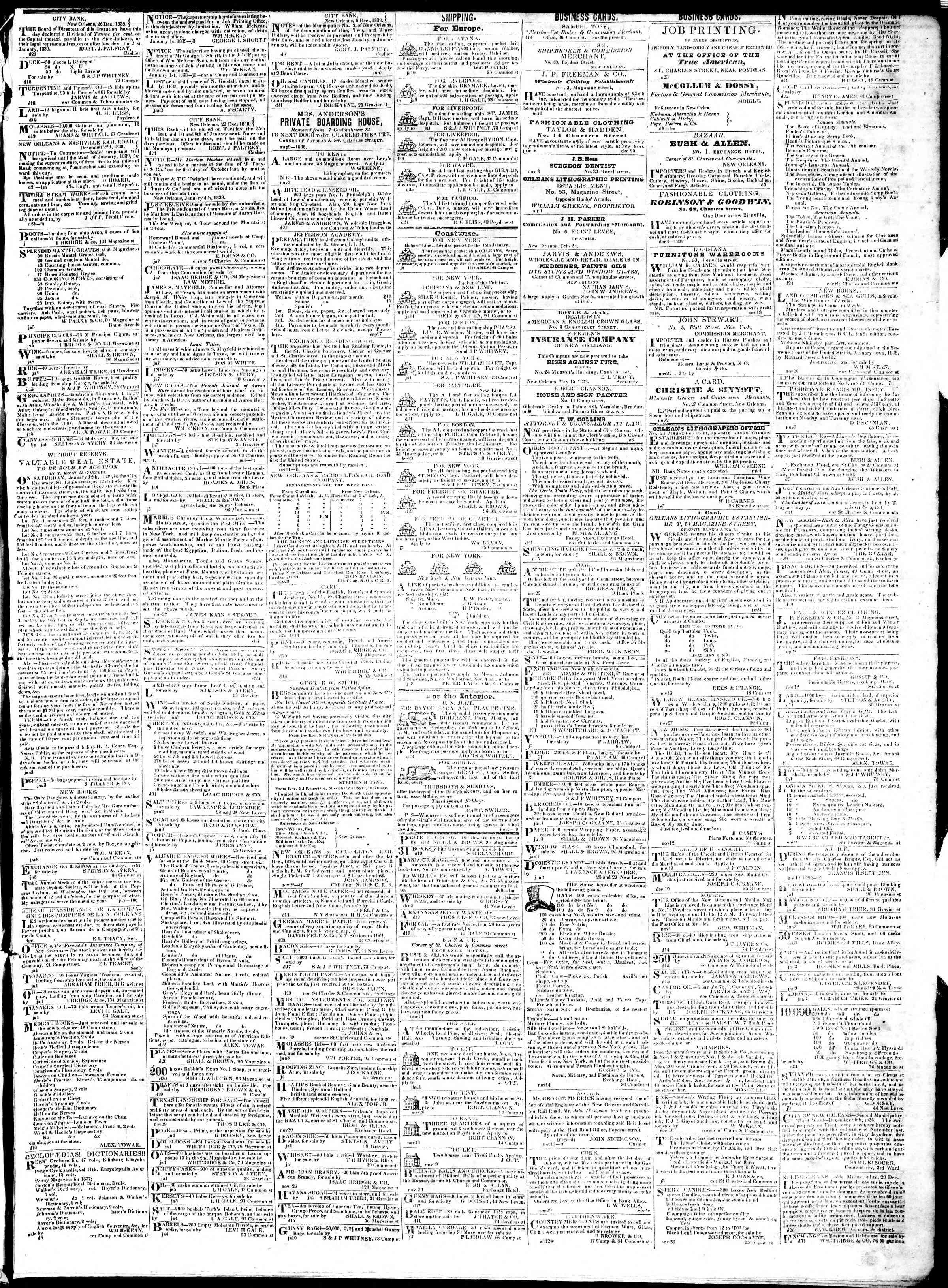 January 12, 1839 Tarihli True American Gazetesi Sayfa 3