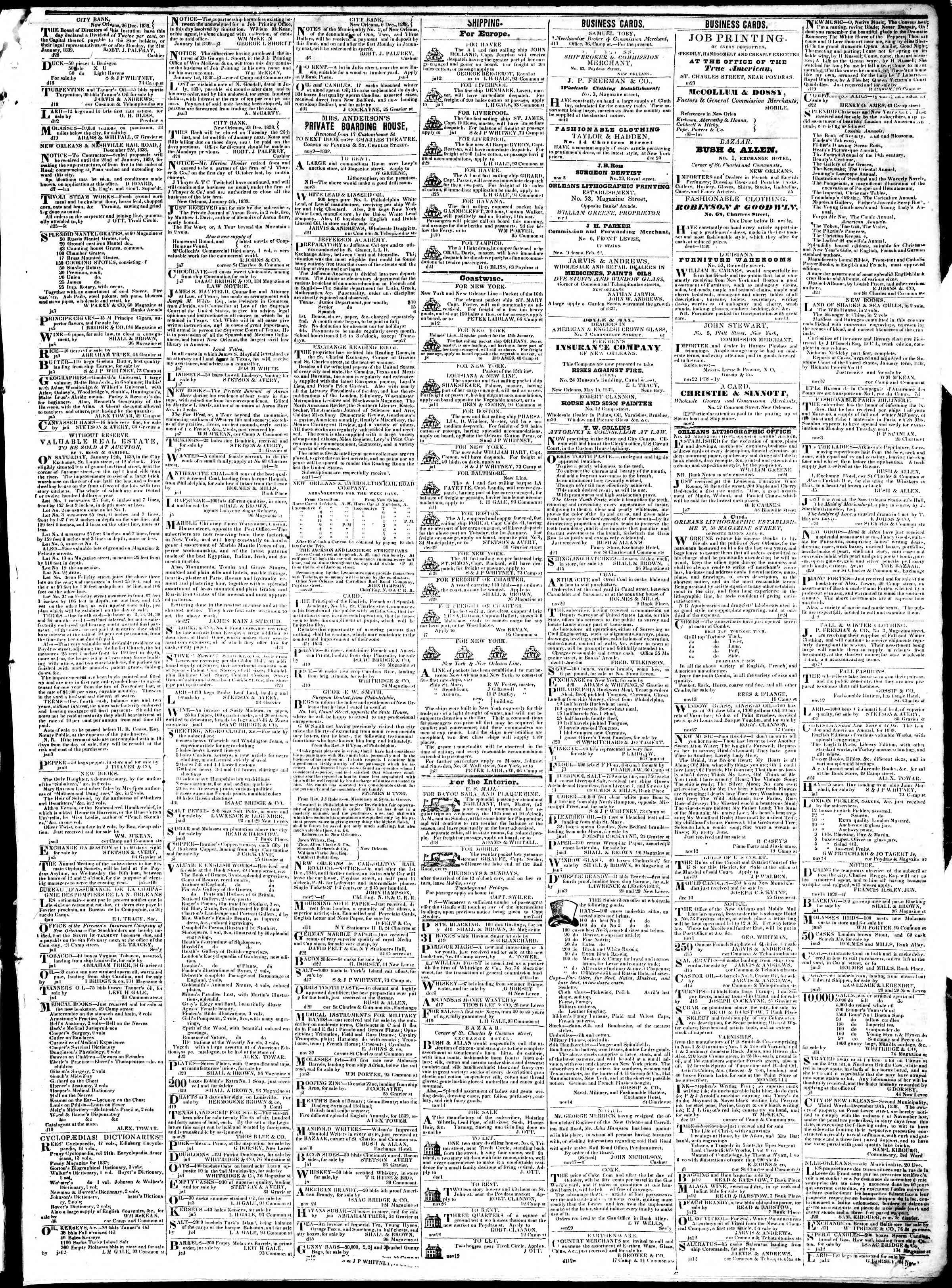 January 14, 1839 Tarihli True American Gazetesi Sayfa 3
