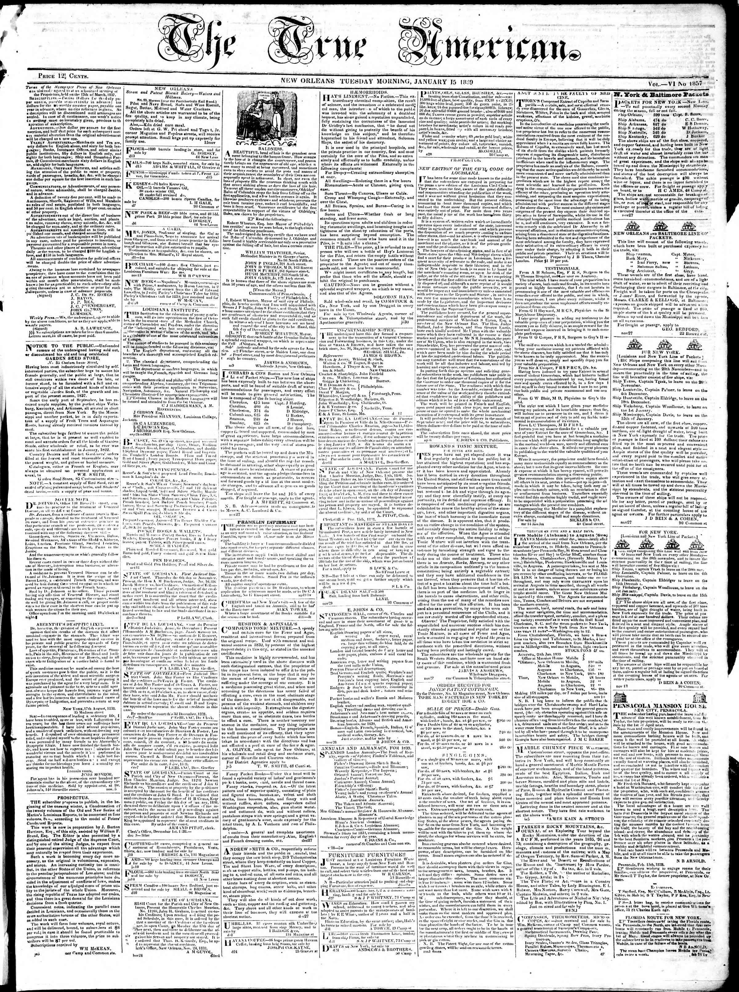 January 15, 1839 Tarihli True American Gazetesi Sayfa 1