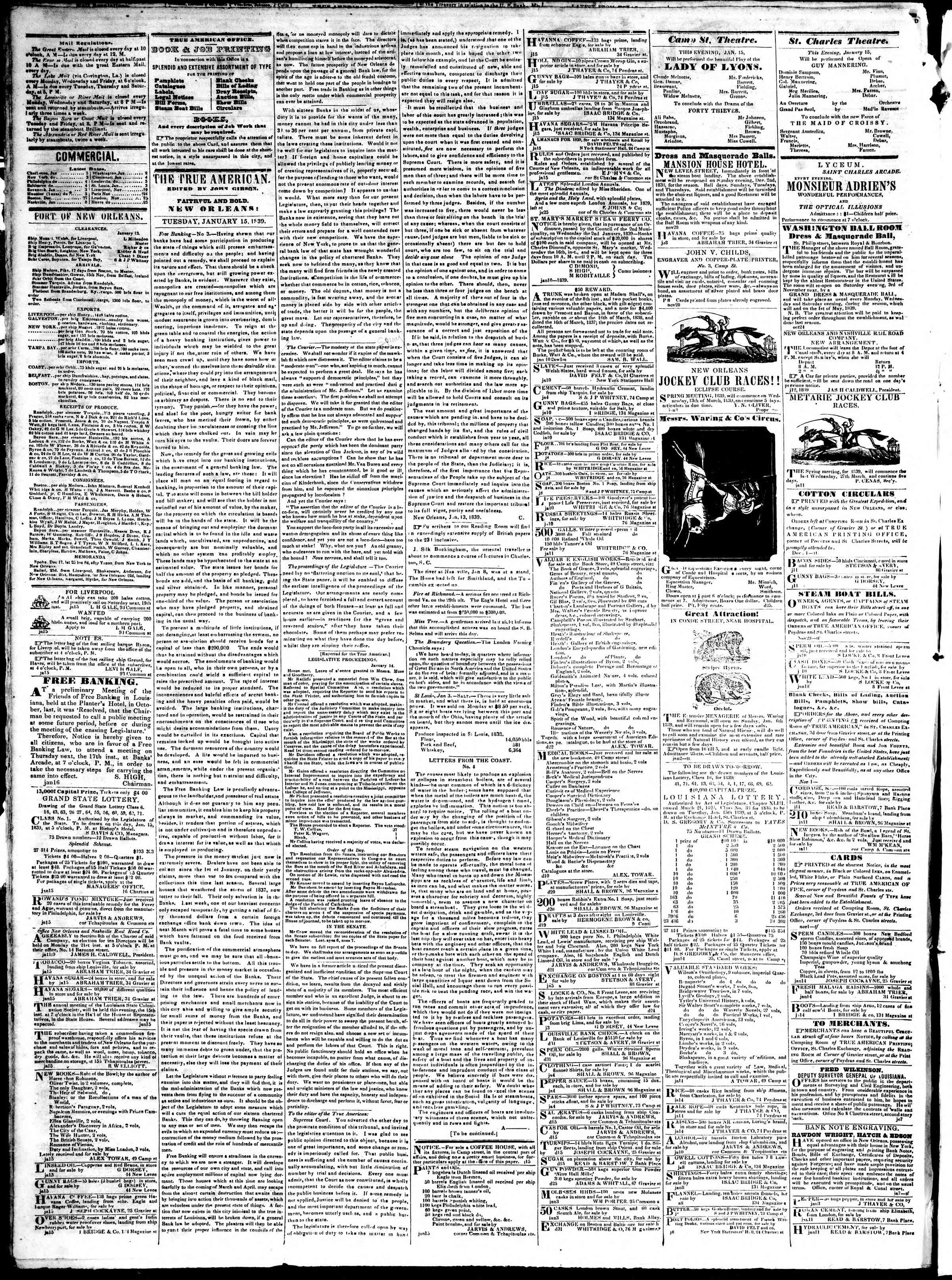 January 15, 1839 Tarihli True American Gazetesi Sayfa 2