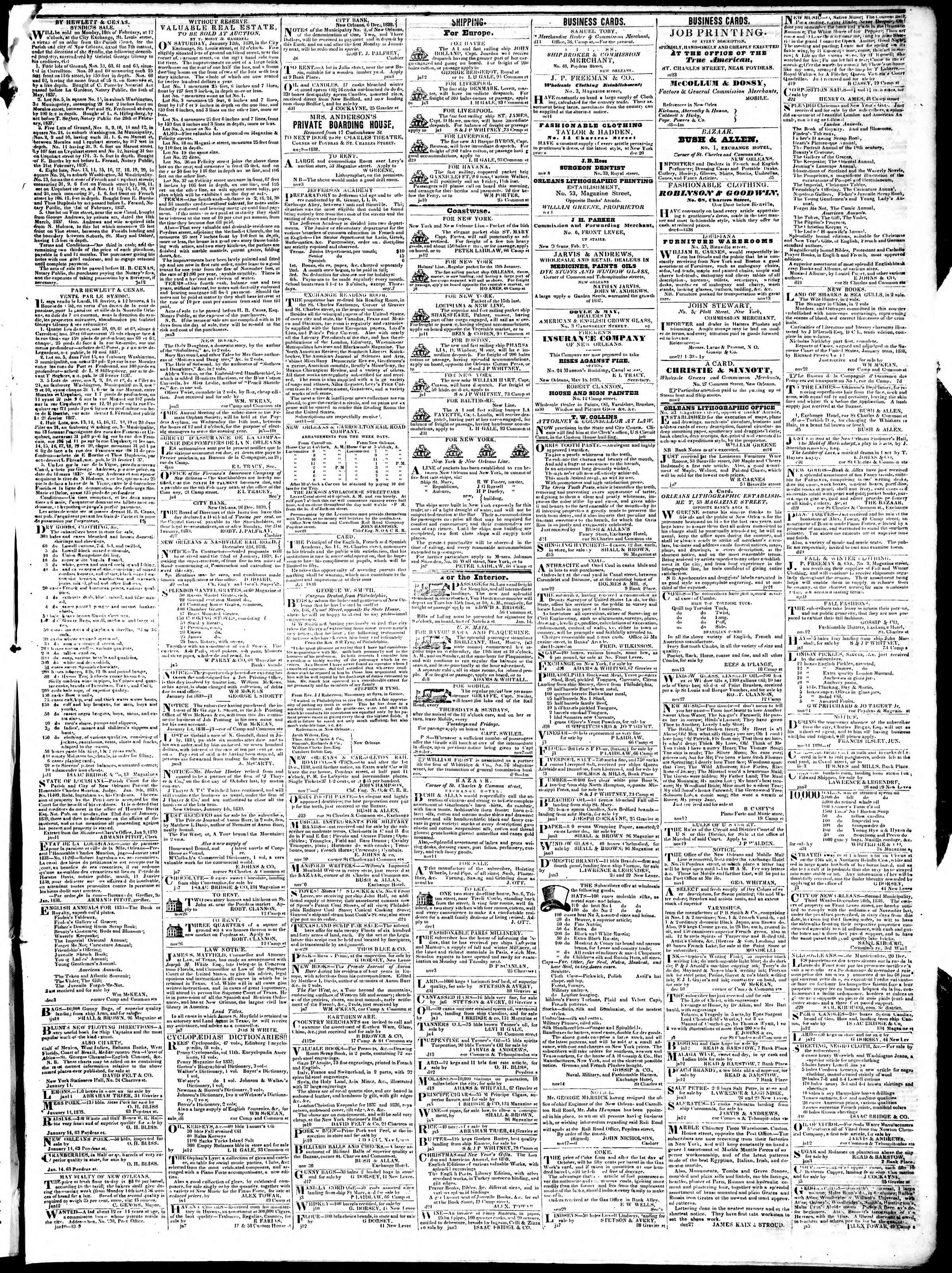 Newspaper of True American dated January 15, 1839 Page 3