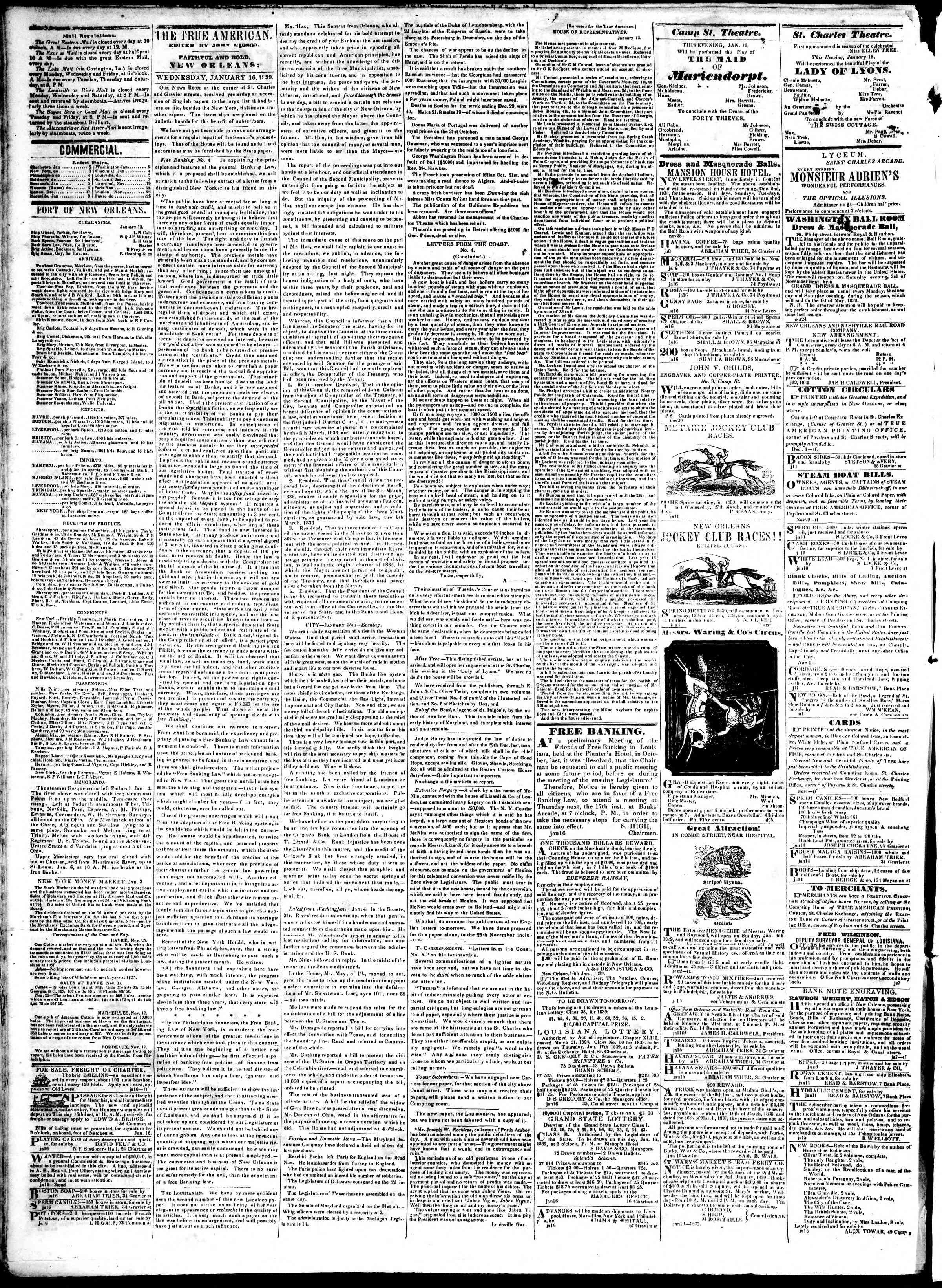 January 16, 1839 Tarihli True American Gazetesi Sayfa 2