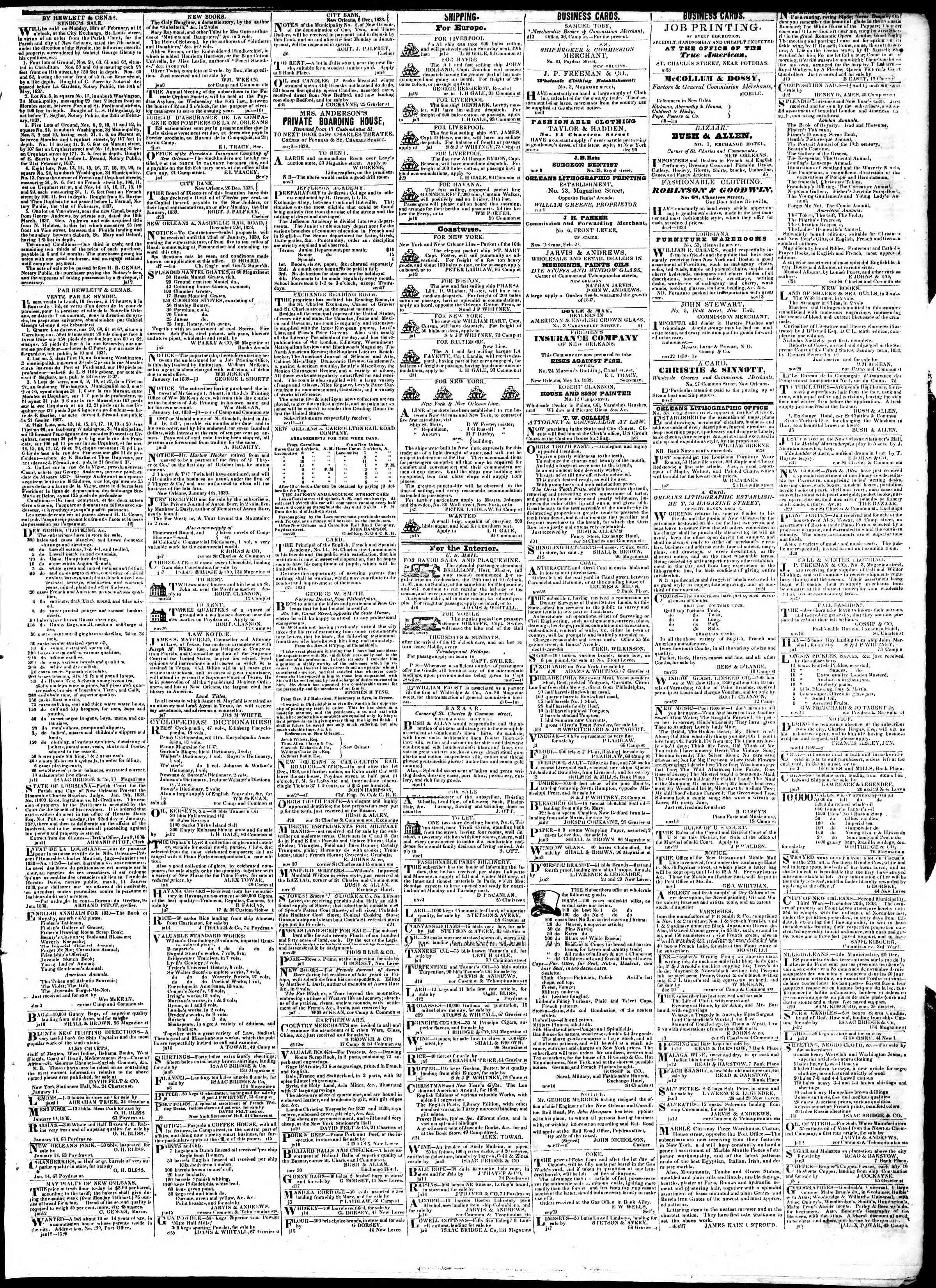 January 16, 1839 Tarihli True American Gazetesi Sayfa 3