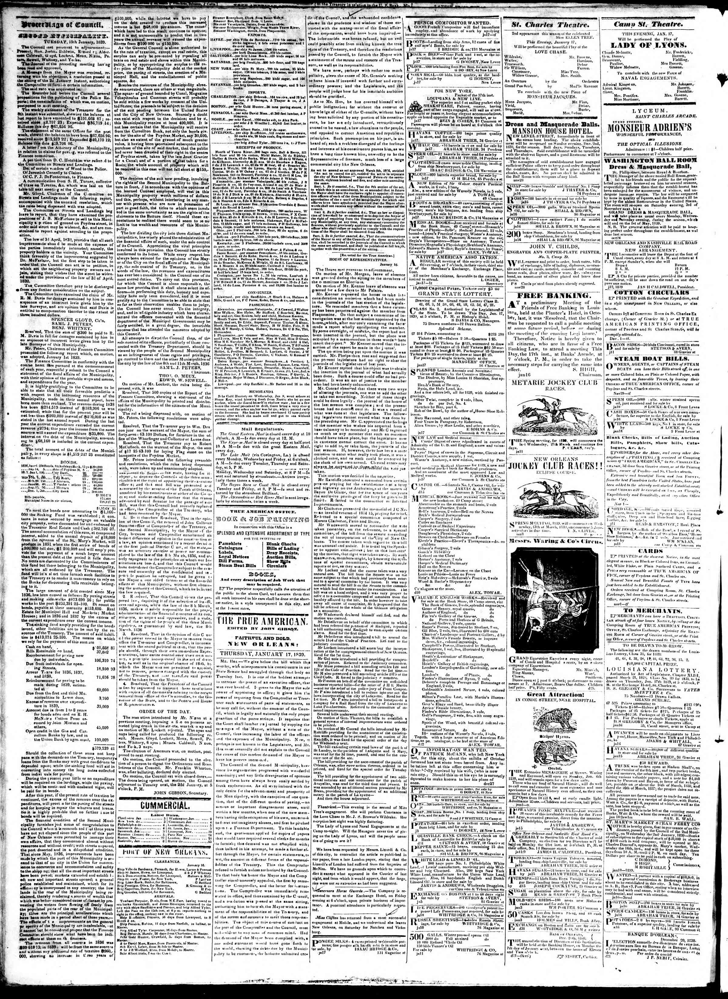 January 17, 1839 Tarihli True American Gazetesi Sayfa 2