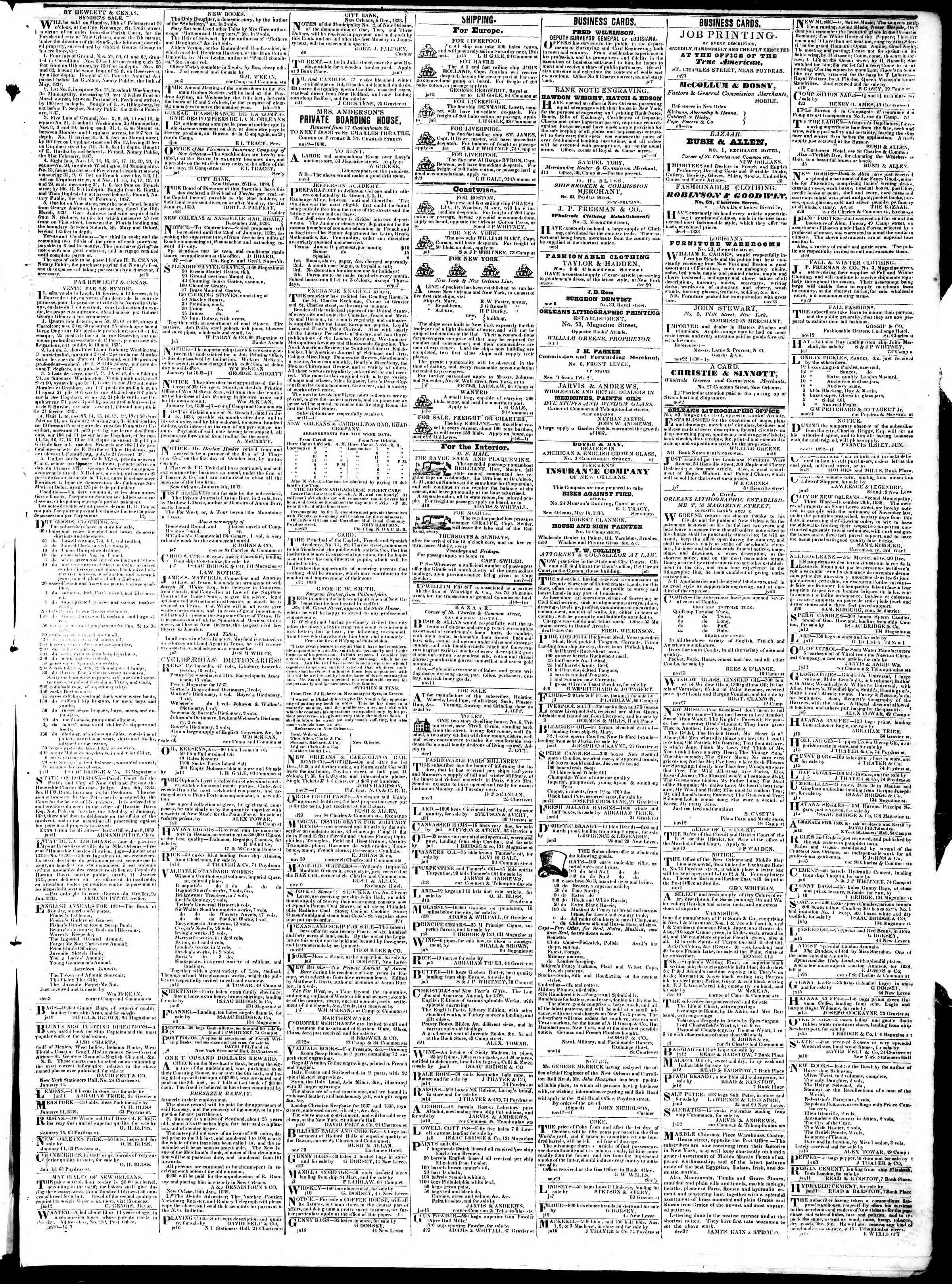 January 17, 1839 Tarihli True American Gazetesi Sayfa 3