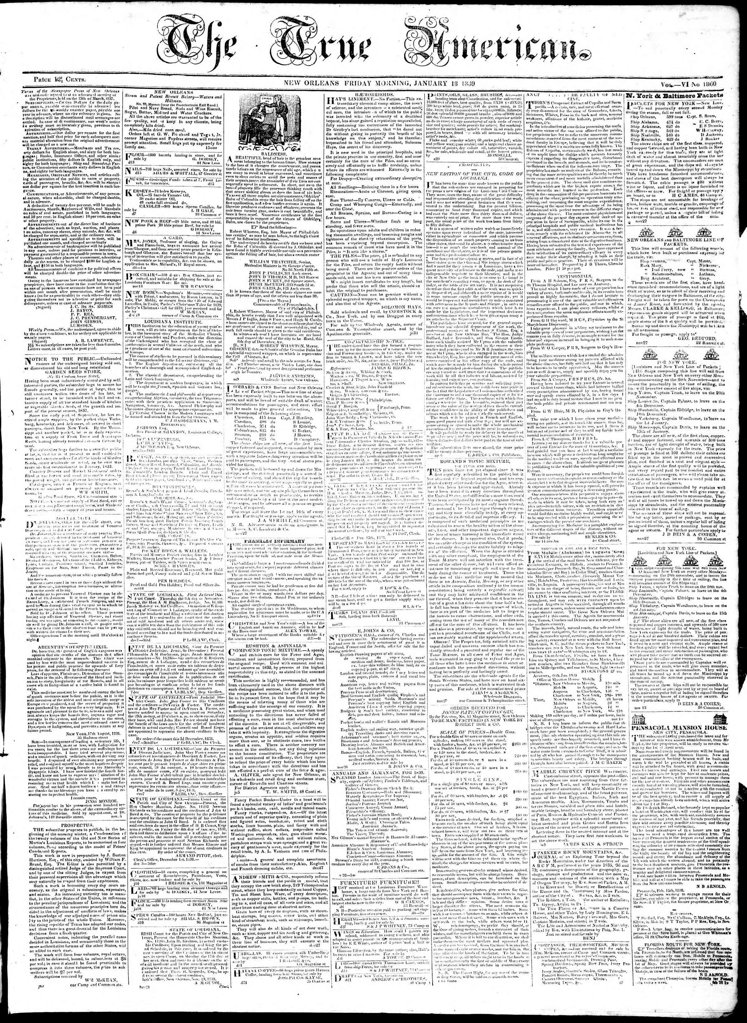 Newspaper of True American dated January 18, 1839 Page 1