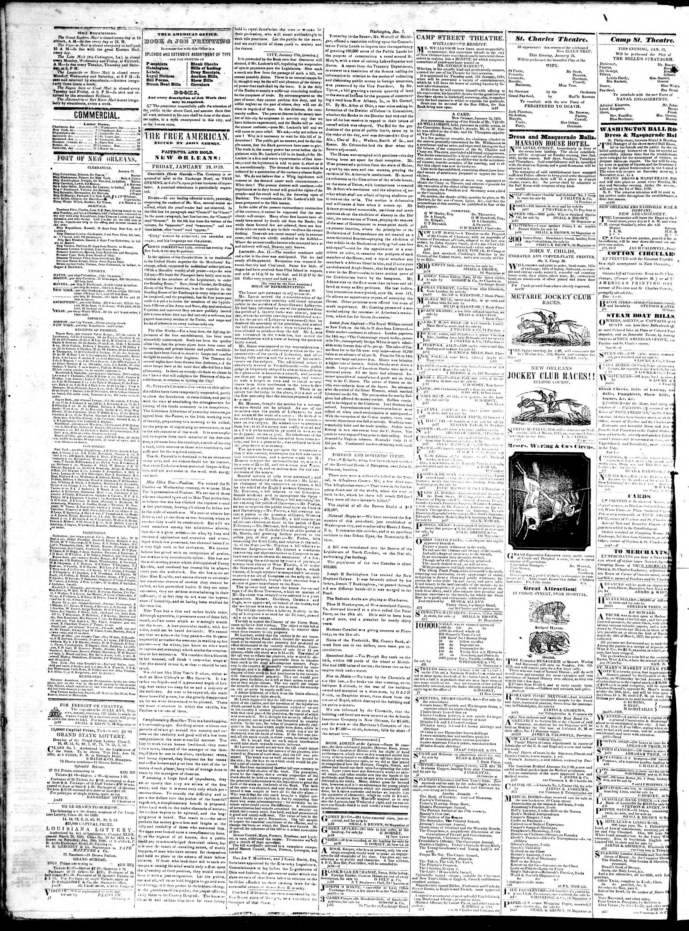 Newspaper of True American dated January 18, 1839 Page 2