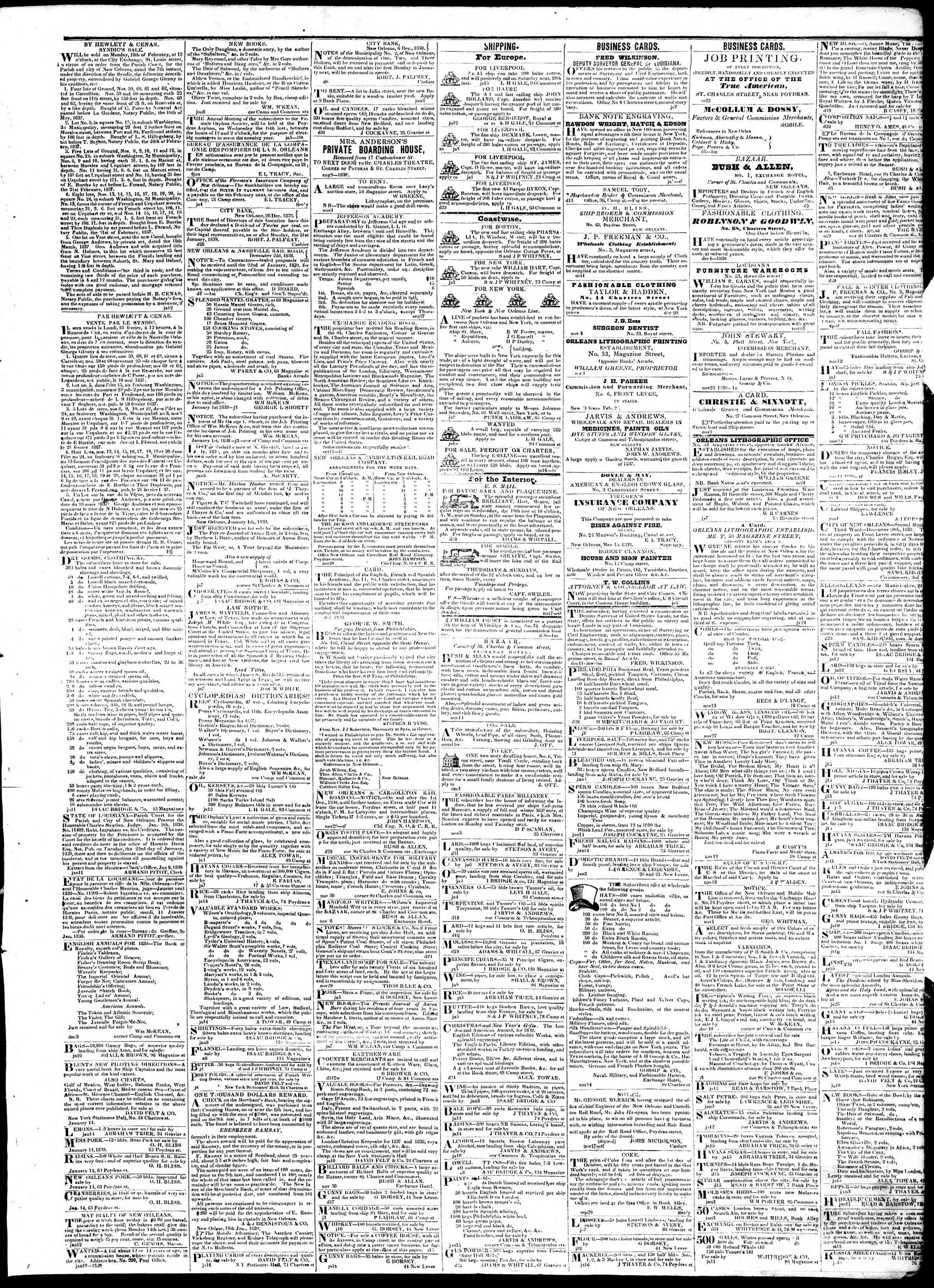 Newspaper of True American dated January 18, 1839 Page 3